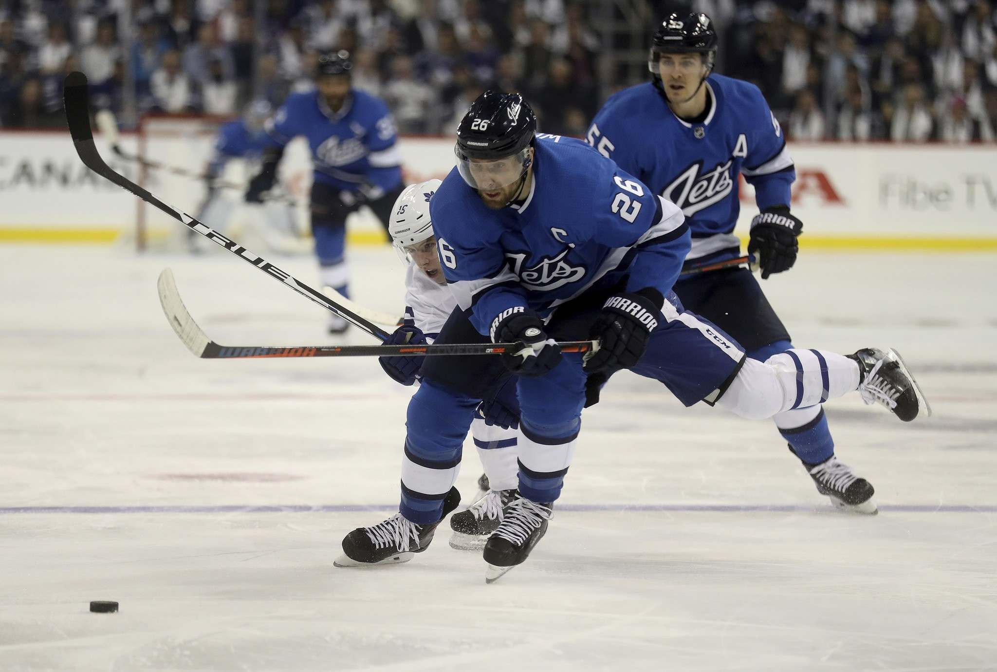 Captain Blake Wheeler has been racking up points, but has already taken a team-leading 17 penalty minutes. (Trevor Hagan / The Canadian Press)</p>