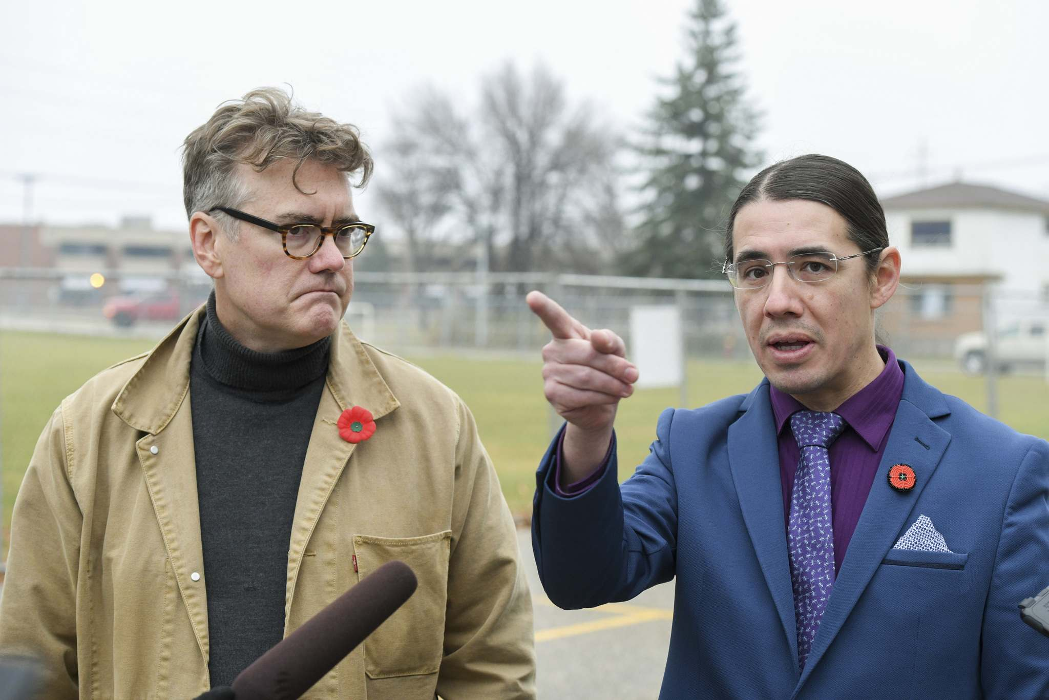 Provincial Liberal leader Dougald Lamont and MP Robert-Falcon Ouellette called on the province to unveil a clean-up plan for Weston School (Mike Sudoma / Winnipeg Free Press)</p>