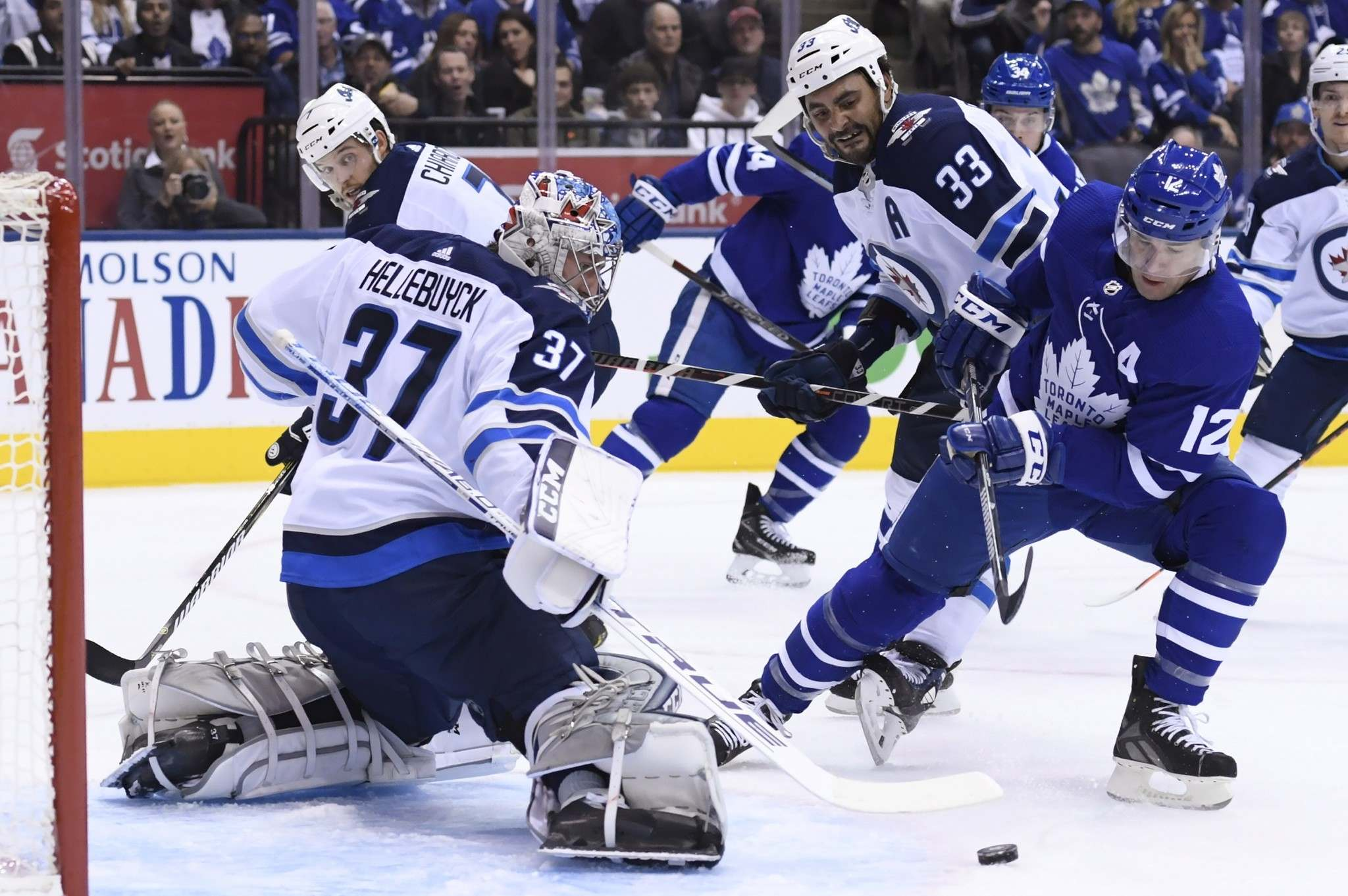On Saturday, Winnipeg built up a 2-0 lead with Hellebuyck stopping the first 22 shots he faced, but the Leafs stormed back with three goals in the final period. (Nathan Denette / The Canadian Press files)</p>
