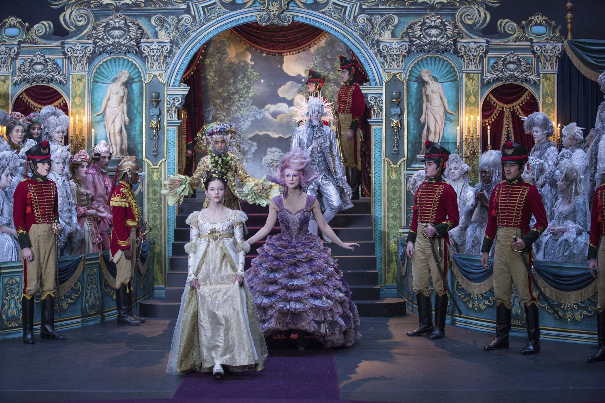 Mackenzie Foy is Clara, Keira Knightley is Sugar Plum Fairy, Jaden Fowara-Knight is Phillip, Eugenio Derbez is Hawthorne and Richard E. Grant is Shiver. (Disney photos)