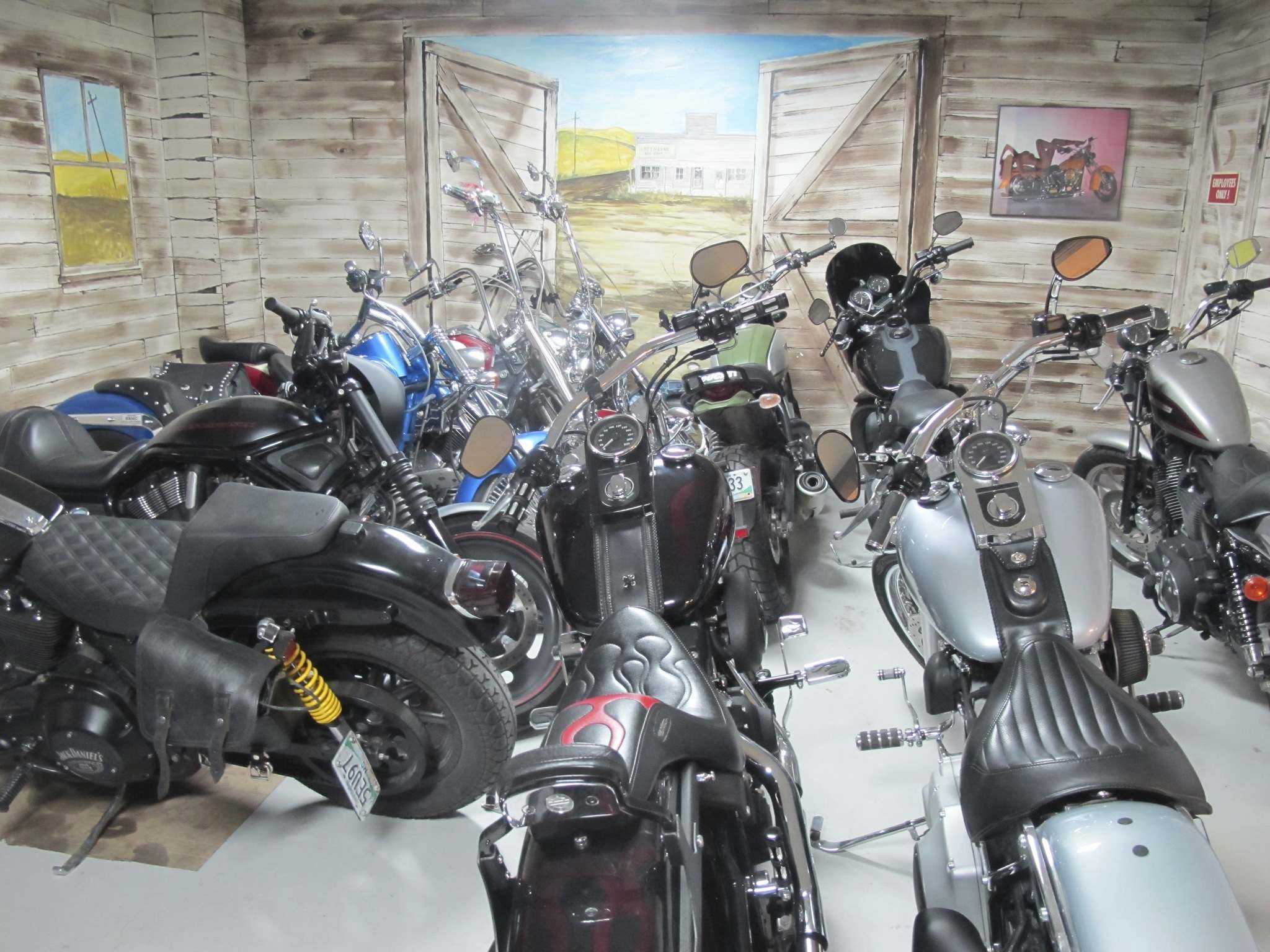 There's enough room to store about a dozen motorcycles for the winter in the showroom at Prairie Iron Motorworks, a motorcycle repair shop on Sargent Avenue.