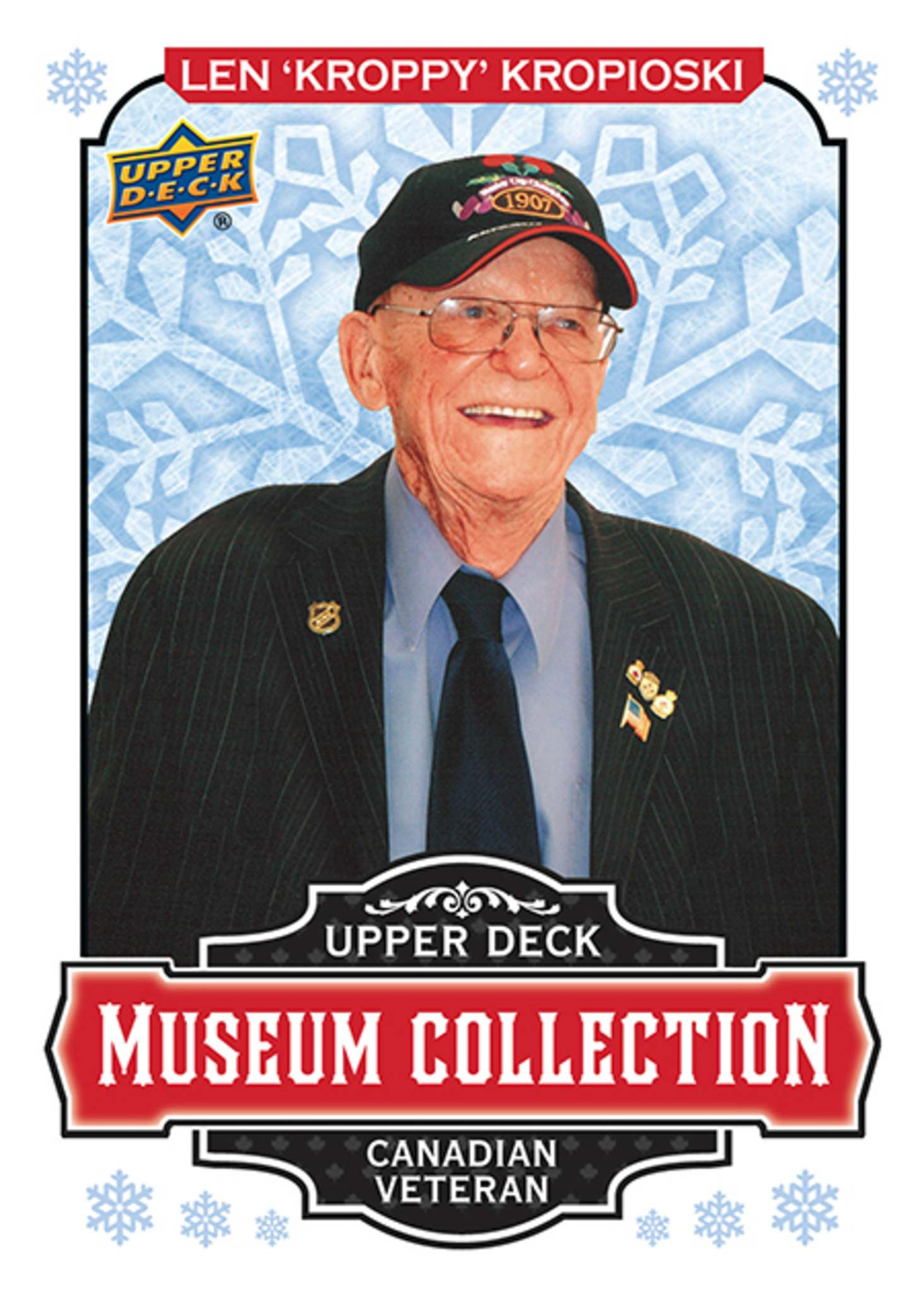 Len Kropioski's hockey card is part of Upper Deck's Museum Collection series honouring one Canadian veteran for Remembrance Day and one American for Veterans Day in the United States. (Upper Deck)</p></p>
