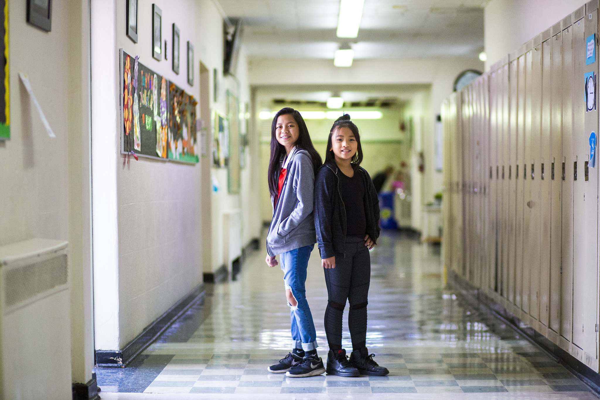 Sargent Park School students Jarylle Santos, 13 (left), and Mikayla Seculles, 10. Mindfulness 'can really help you calm down and learn better,' Mikayla says.</p>