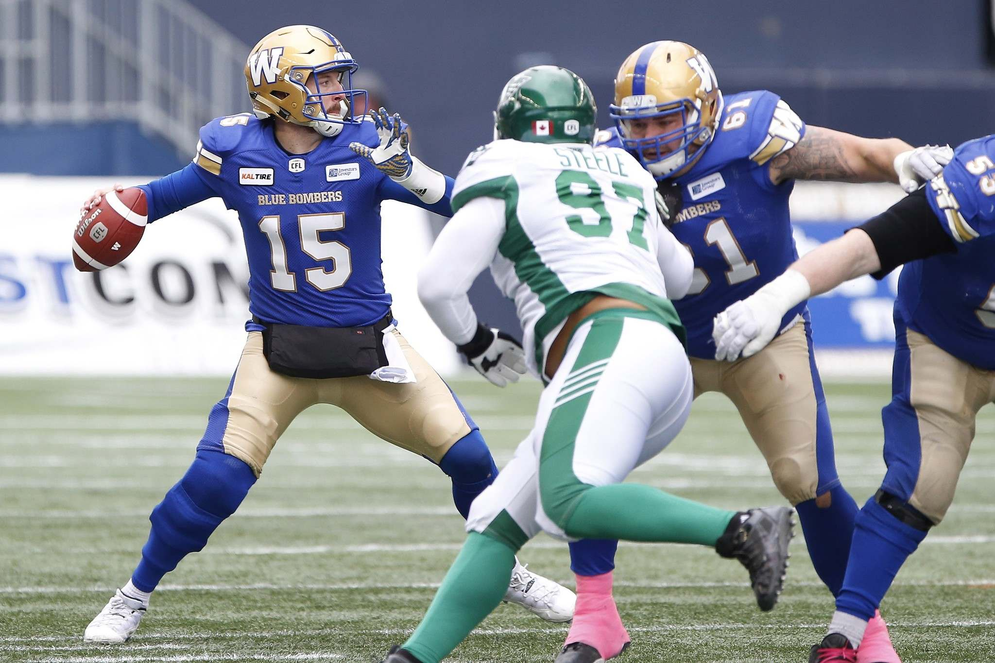 John Woods / THE CANADIAN PRESS FILES</p><p>Winnipeg Blue Bombers quarterback Matt Nichols (15) throws against the Saskatchewan Roughriders on Oct. 13, a game the Bombers won 31-0. </p>