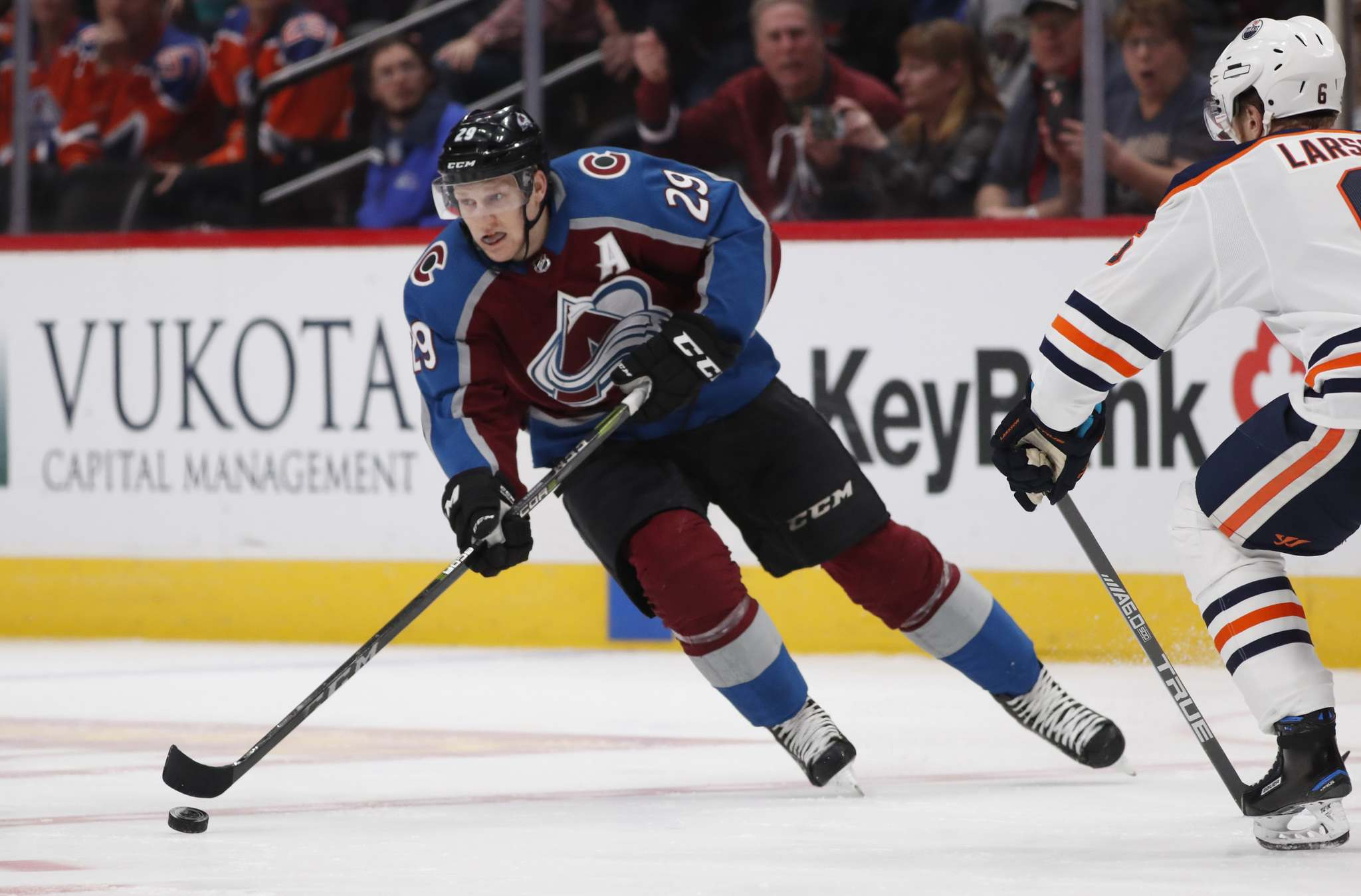 Avalanche centre Nathan MacKinnon is tied for second in the NHL in goals scored with 11 and is third overall in points with 21 as of Tuesday afternoon. (David Zalubowski / The Associated Press files)</p>
