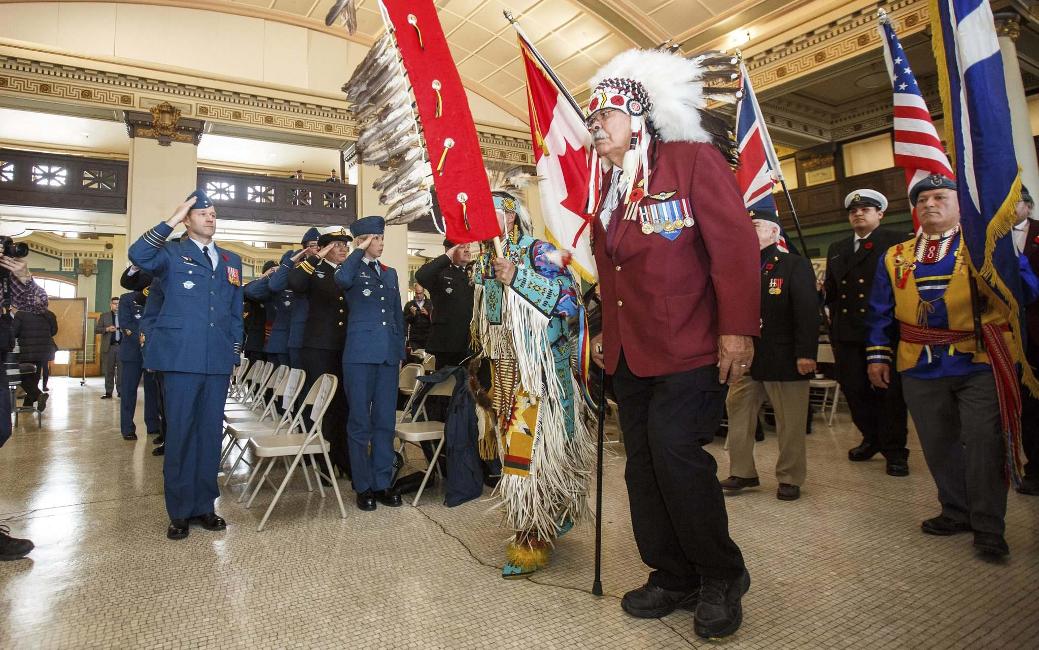 MIKE DEAL / WINNIPEG FREE PRESSJoe Meconse, 77, a Dene veteran from the Churchill area, leads the group of Aboriginal veterans at Thursday&#39;s ceremony.</p>