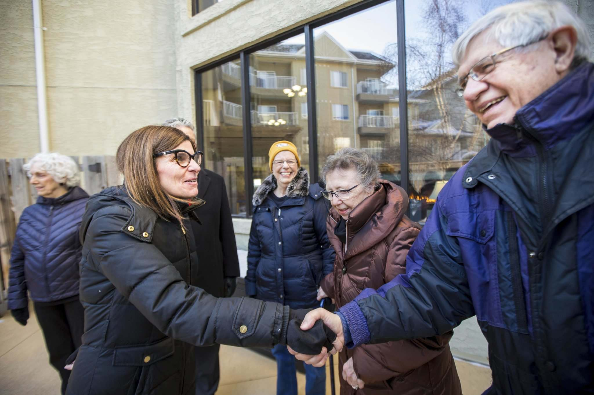 MIKAELA MACKENZIE / WINNIPEG FREE PRESS</p><p>Seniors Minister Filomena Tassi (from left) meets with Dorothy Tallman, Gail Cloutier and Bob Galston in Winnipeg on Monday.</p></p>