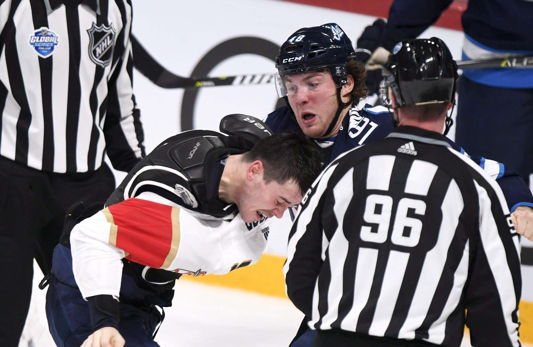 MacKenzie Weegar jumped in to fight Brendan Lemieux after the Winnipeg Jet hit Vincent Trocheck in the head on Nov. 2 in Helsinki. Lemieux received a two-game suspension and was fined US$9,000 in salary. (Martti Kainulainen / Lehtikuva files)</p>