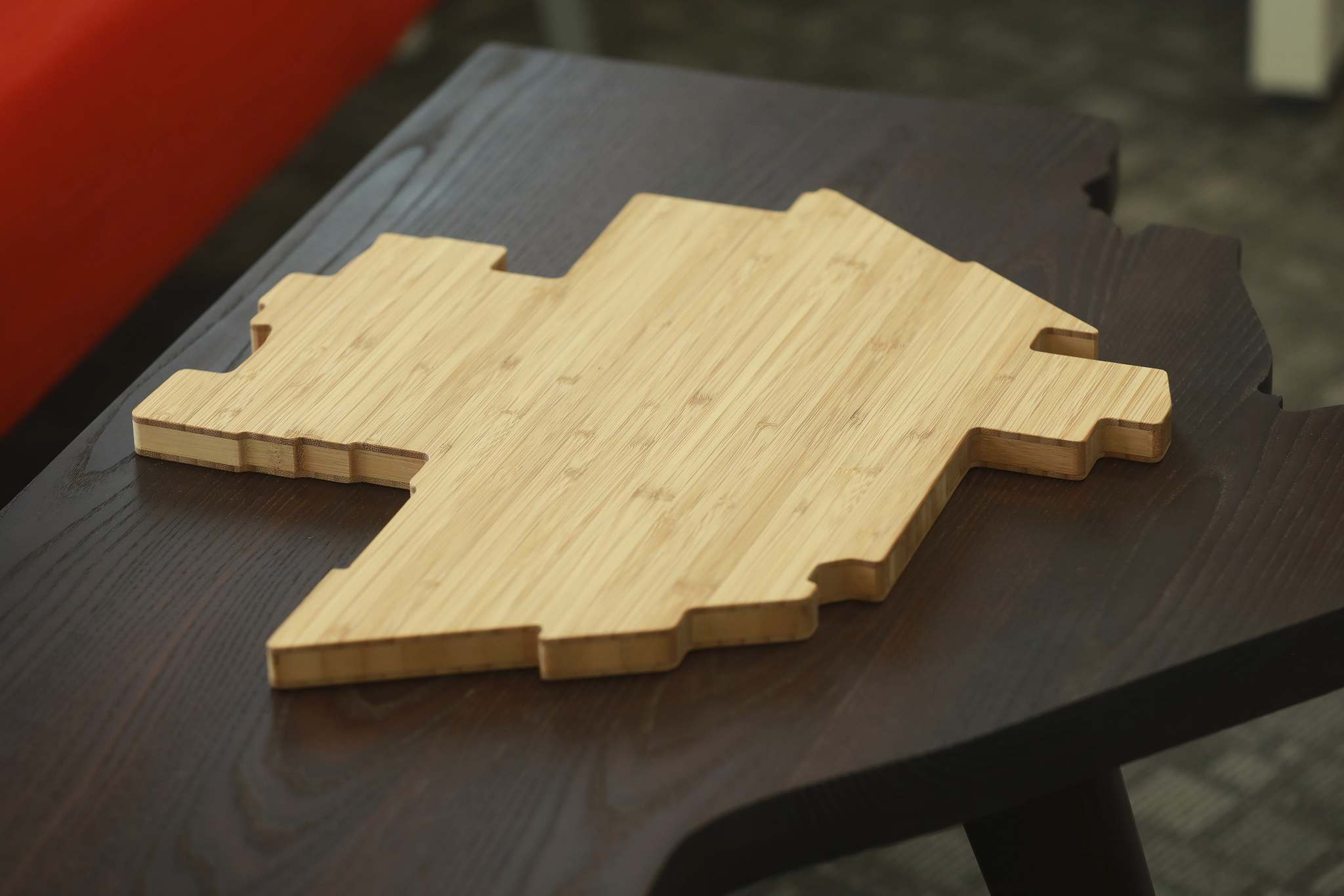 A cutting board in shape of Winnipeg.