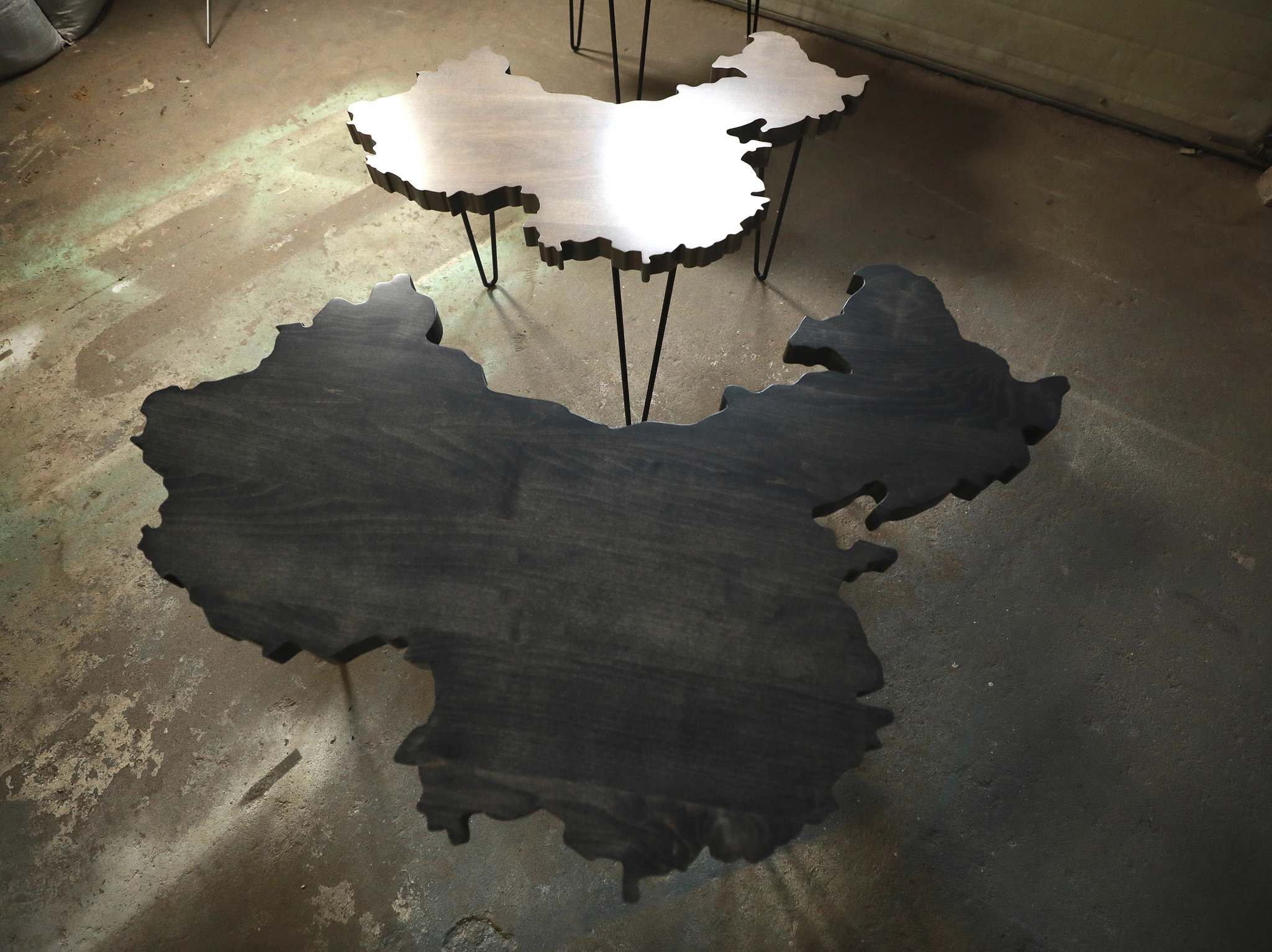 Tables in the shape of China.
