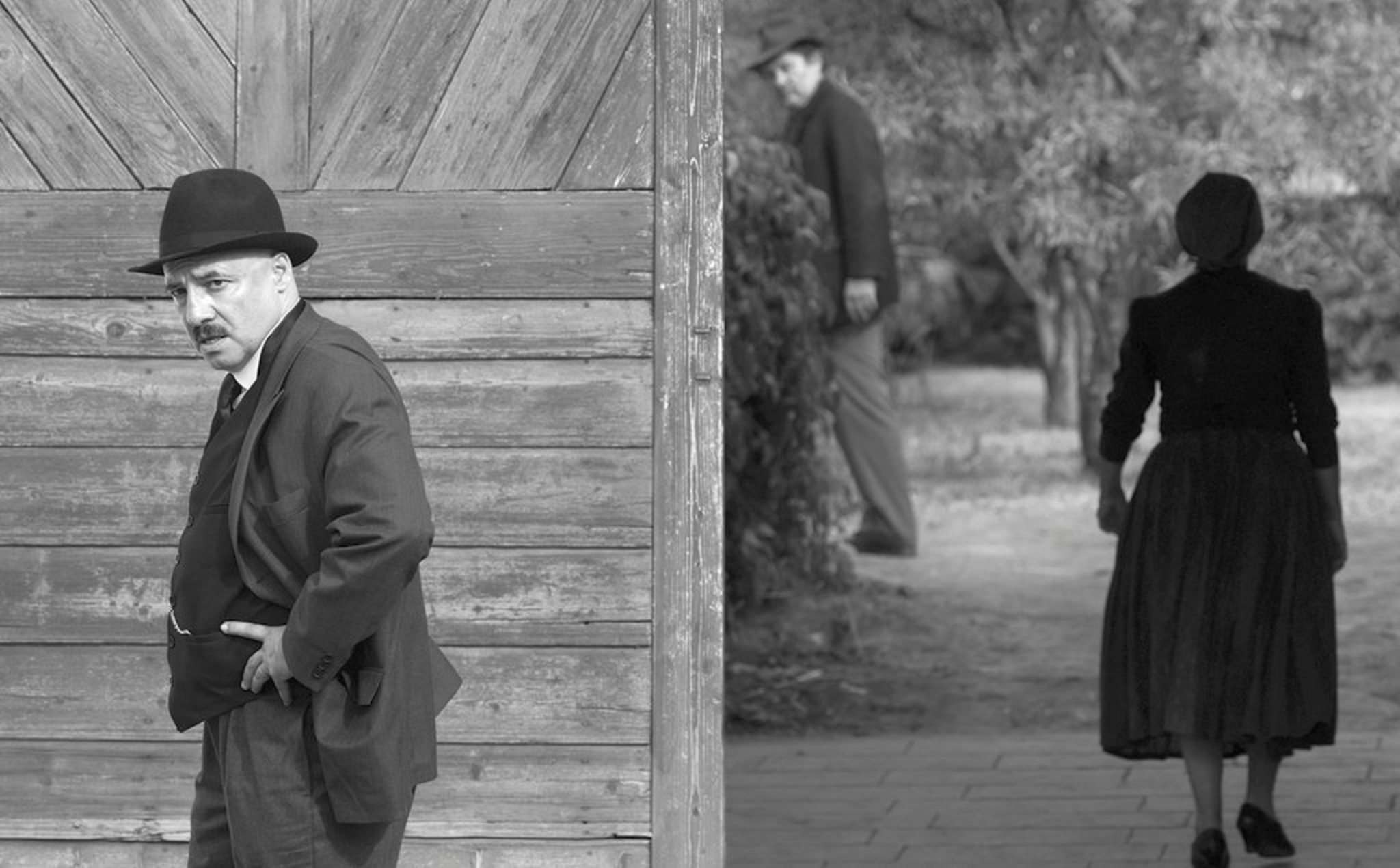 Town clerk István Szentes (Péter Rudolf) worries about his town's unwelcome visitors, while Mr. and Mrs. Kustár linger in the background, in a scene from the Hungarian film 1945. (Lenke Szilagyi / Menemsha Films)</p>