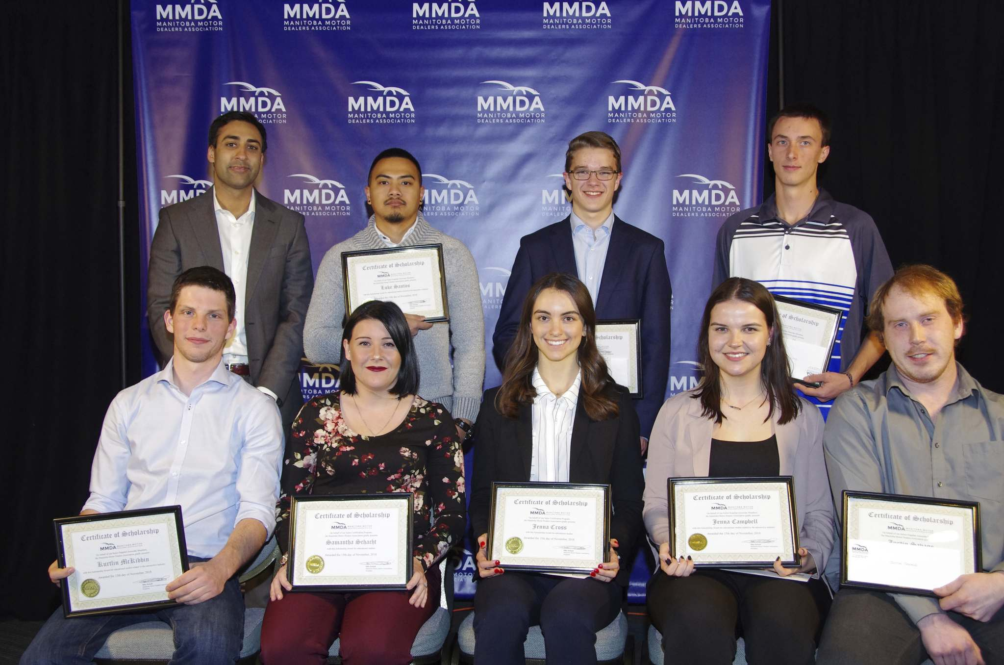Submitted Kabeir Dilawri from the MMDA (back from left), with scholarship winners Luke Santos, Stephen Bachalo, Brett Metcalfe, (front from left)Kurtlin McKibbin, Samantha Schacht, Jenna Cross, Jenna Campbell and Justin Savage.