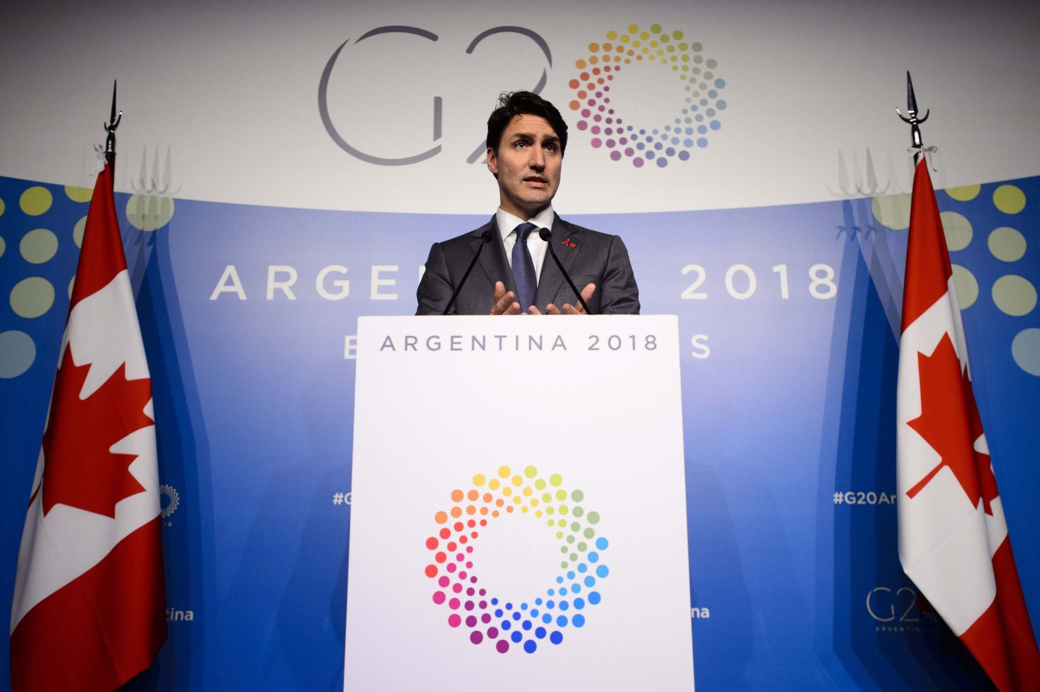 Sean Kilpatrick / THE CANADIAN PRESS FILES</p><p>Prime Minister Justin Trudeau at the G20 Summit in Buenos Aires, Argentina on Saturday.</p></p>