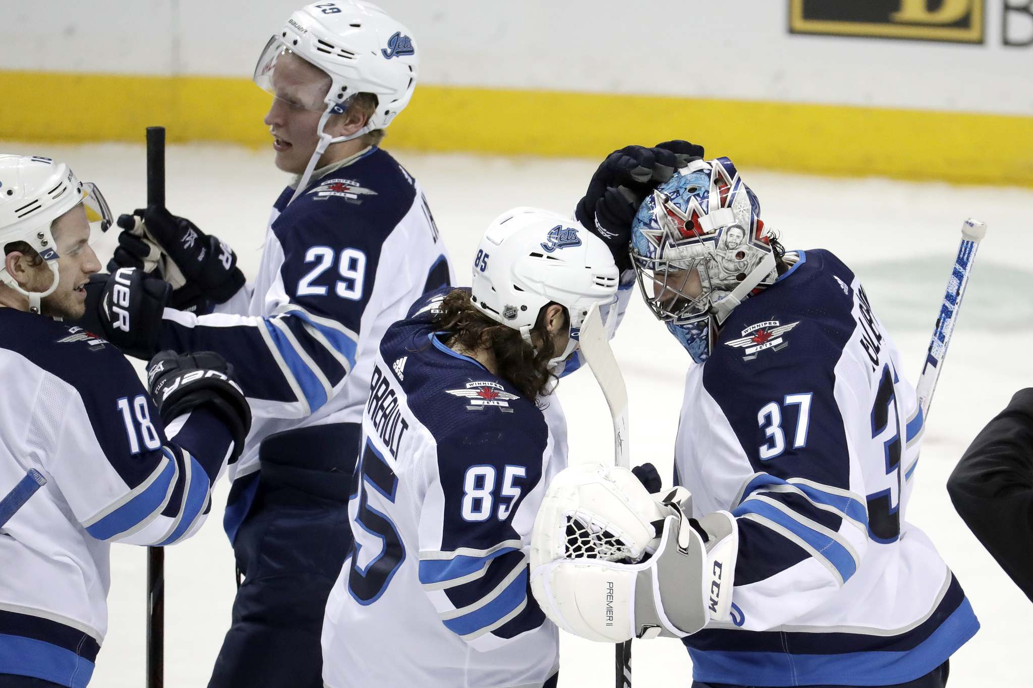 The Winnipeg Jets won all three games during the team&#39;s trip to the east coast. (Julio Cortez / The Associated Press files)</p>