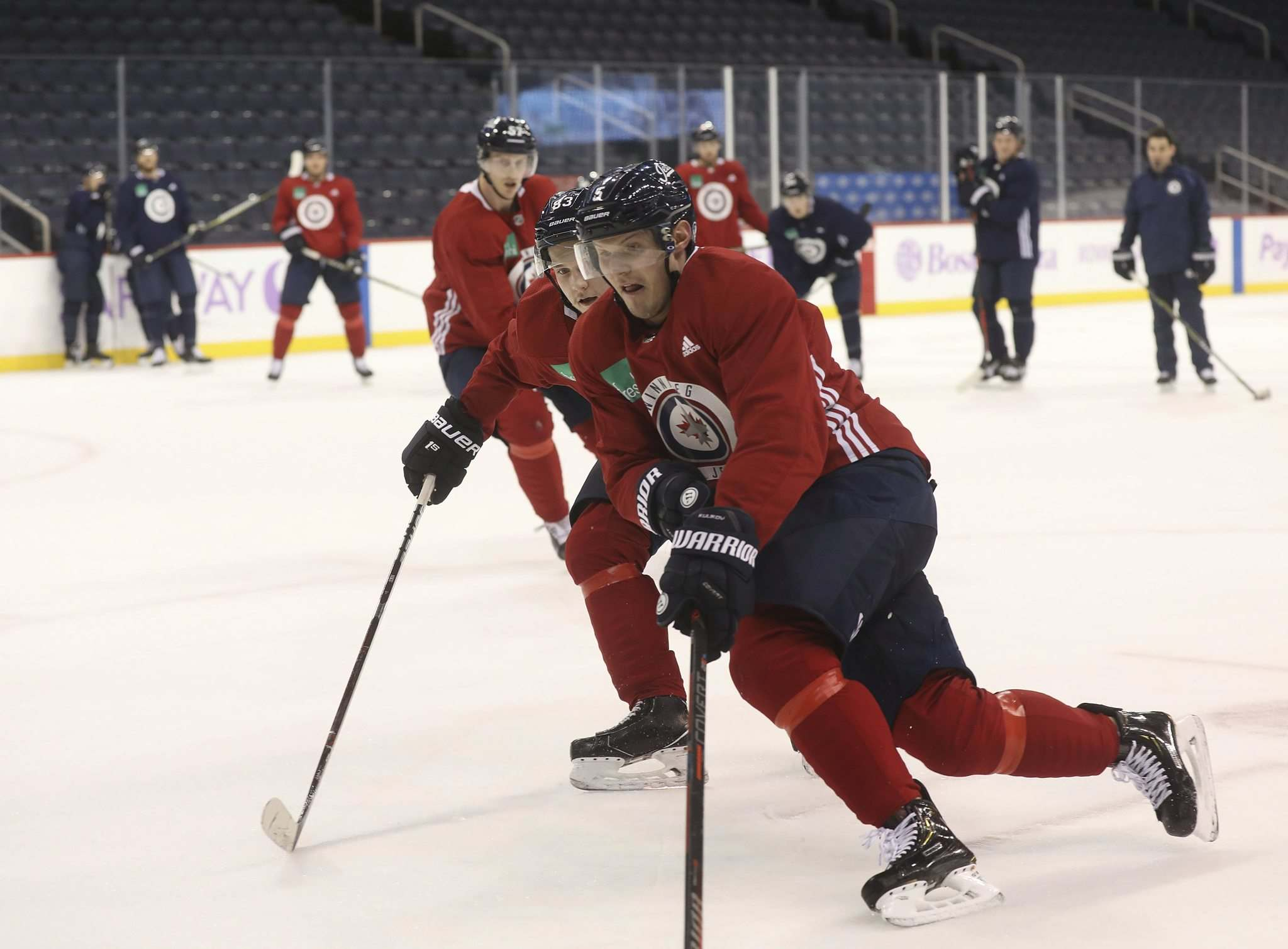 RUTH BONNEVILLE / WINNIPEG FREE PRESS</p><p>Jets defenceman Dmitry Kulikov practises with his teammates at Bell MTS Place on Thursday. He could return from an upper-body injury as early as tonight.</p>