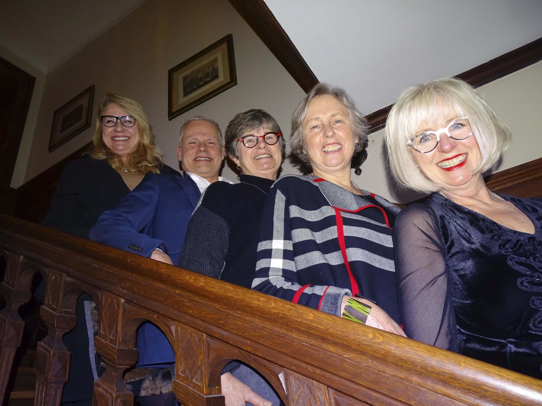 MAUREEN SCURFIELD / WINNIPEG FREE PRESS</p><p>Attendees at the Heritage Winnipeg event included Cindy Tugwell (from left), Chip Batten, Christine Skene, Barbara Myers and Lisa Gardewine.</p>
