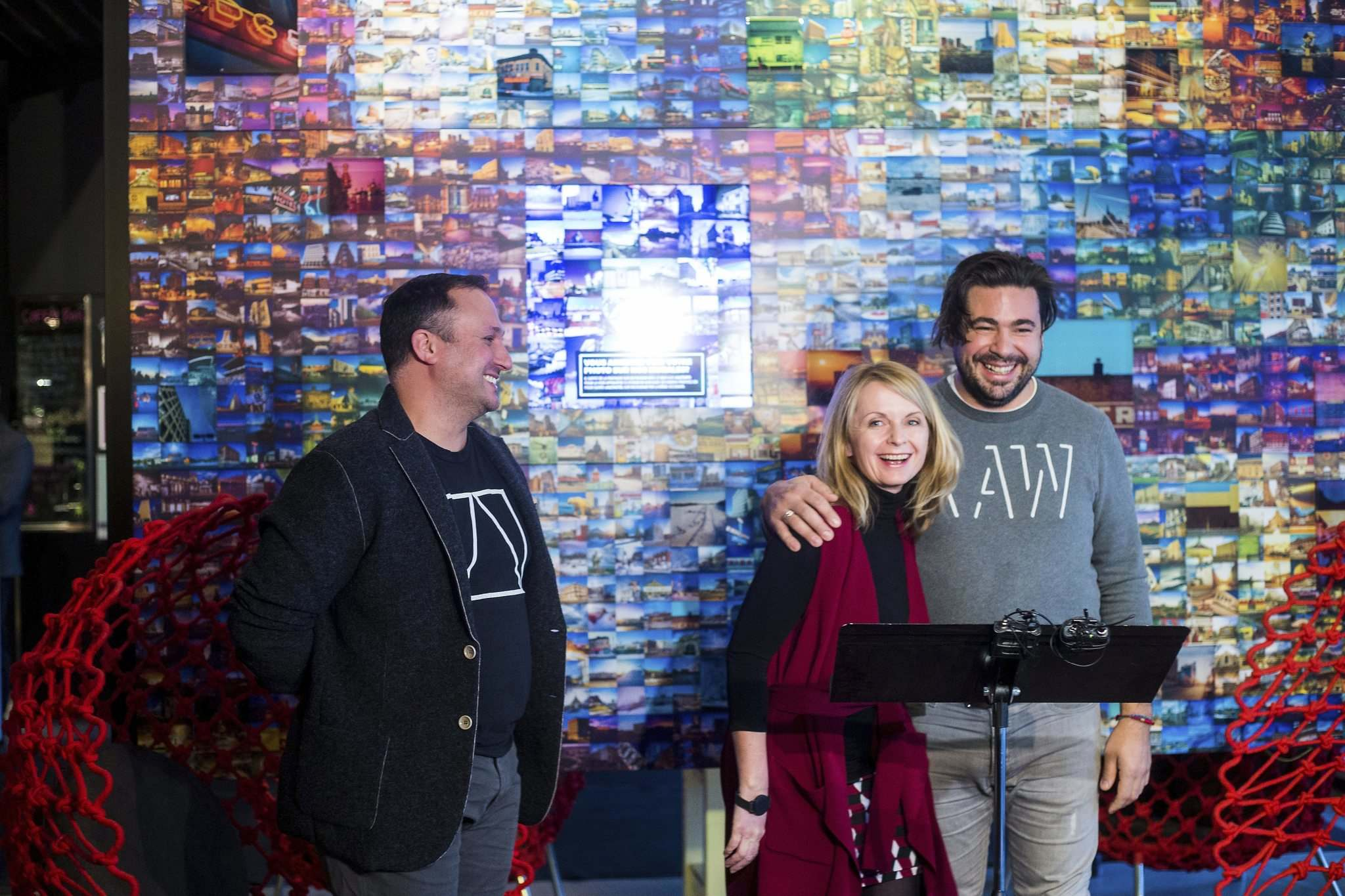 Joe Kalturnyk, designer and RAW:almond cofounder (left), Laurie Barkman, ALT general manager, and Mandel Hitzer, chef and RAW:almond co-founder announce the lineup for this year's RAW:almond at the ALT Hotel Monday.