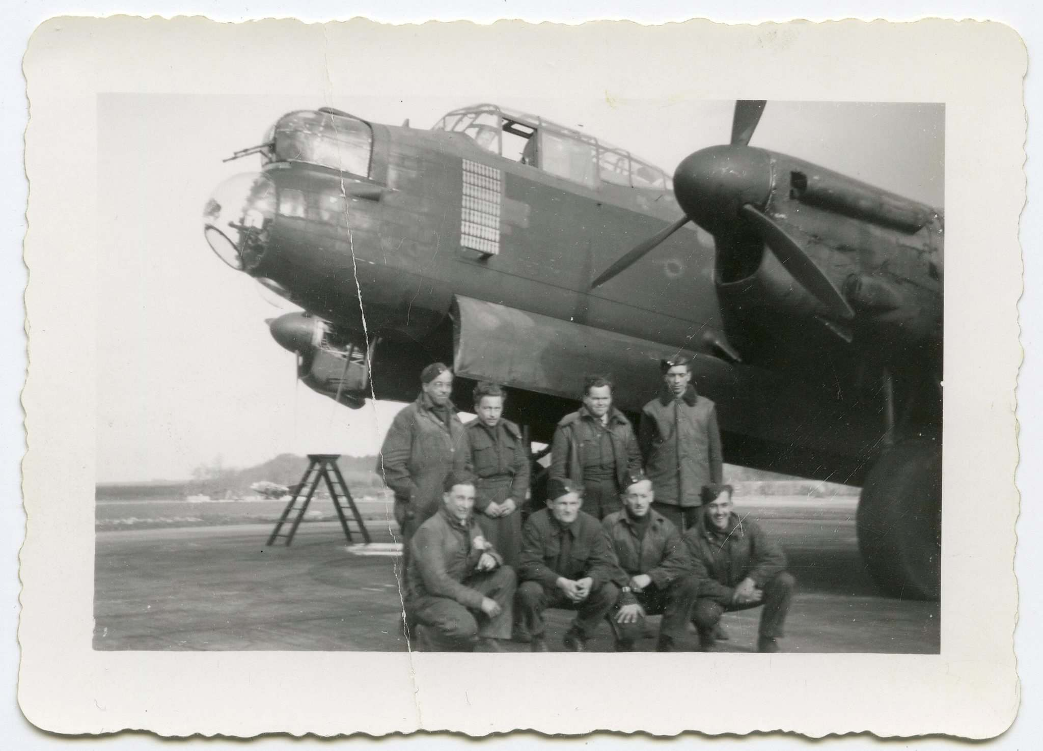 Friedman with his Lancaster bomber crew which flew 58 missions.