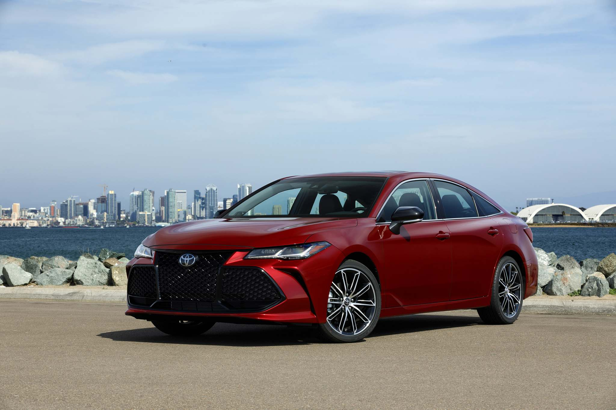 James Halfacre / ToyotaThe 2019 Toyota Avalon sits on a wheelbase that's been stretched almost two inches over a Camry's — making for a significantly more spacious and comfortable rear bench.