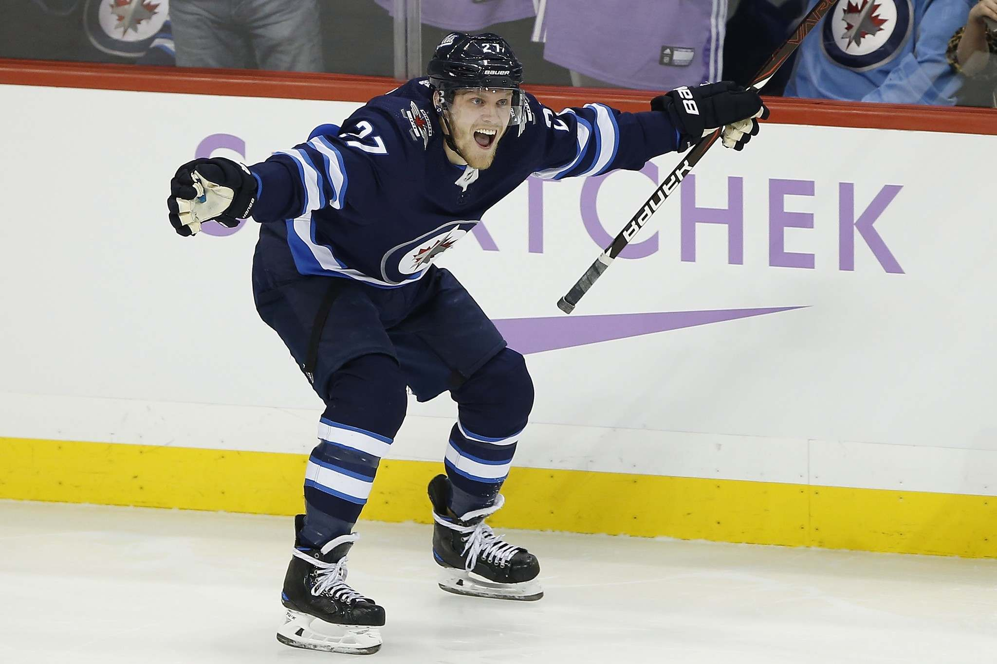 JOHN WOODS / THE CANADIAN PRESS FILES <p /></p><p>Nikolaj Ehlers has been on fire of late, seen here celebrating a hat trick against the Chicago Blackhawks Nov. 29, a trick he'd repeat on the road against the San Jose Sharks Dec. 20.</p>