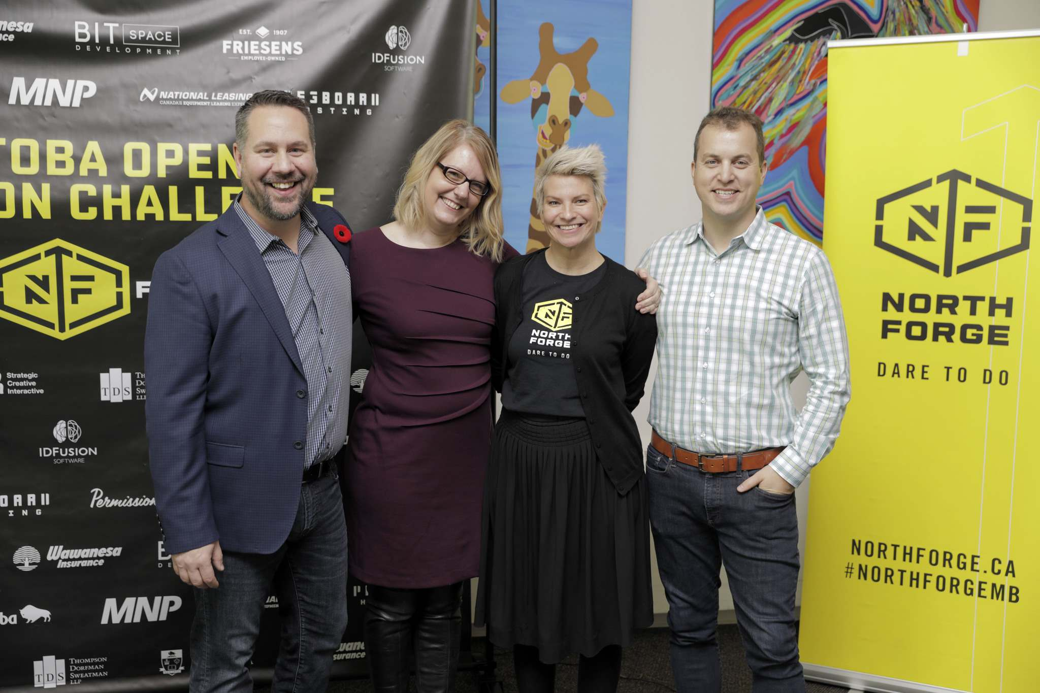 SUPPLIED</p><p>Jeff Ryzner, left, out-going president of North Forge, Teresa Dukes, Suzanne Braun managing director of Relish Brands and project lead on North Forge&rsquo;s Manitoba Open Innovation Challenge project, and Chris Johnson, North Forge director and CEO of Permission Click.</p>