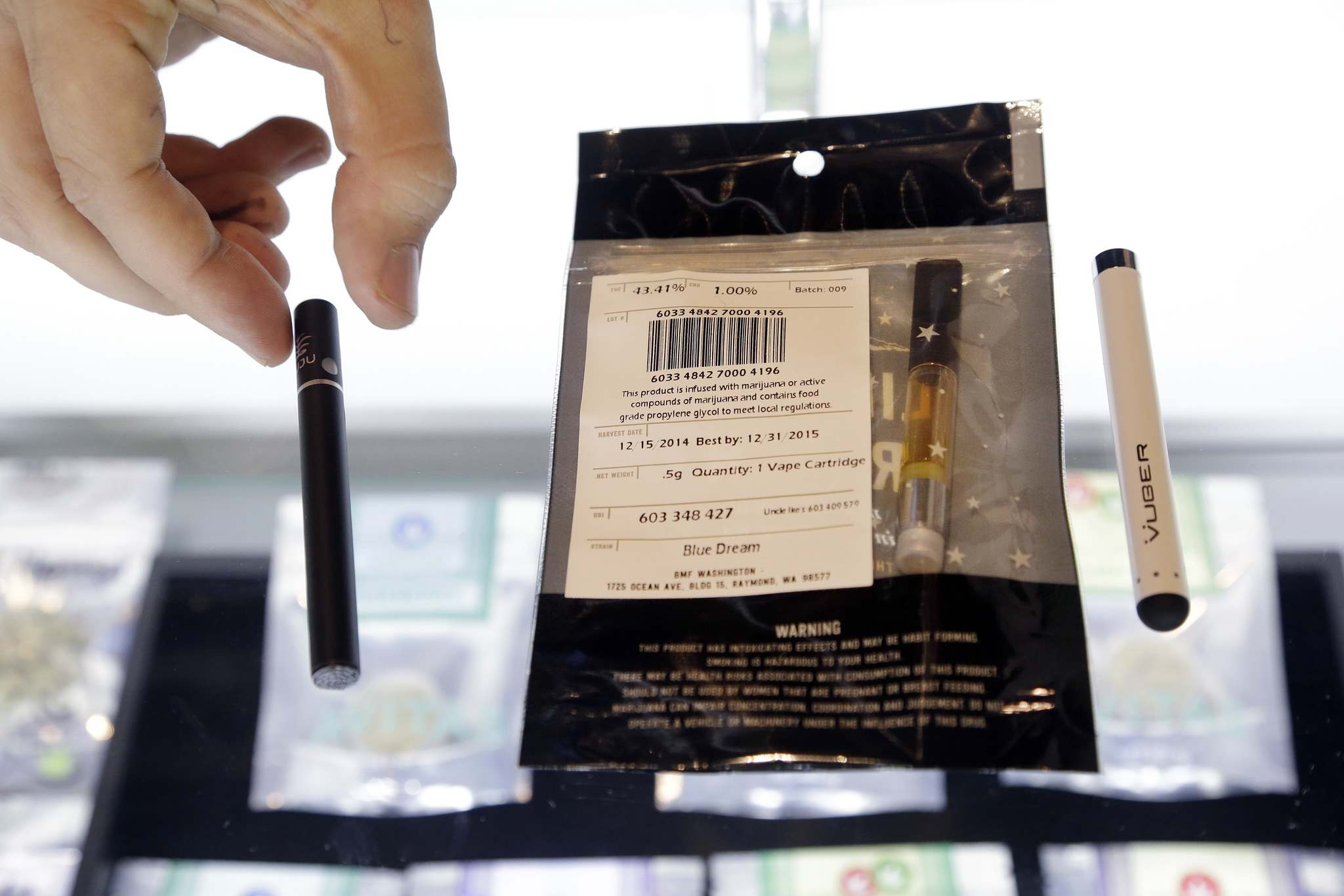 A vape pen with a cartridge full of concentrated marijuana oil at a shop in Seattle. Vape pens and other concentrated forms of cannabis will become legal for sale in Canada sometime in 2019. (Elaine Thompson / Associated Press files)</p>