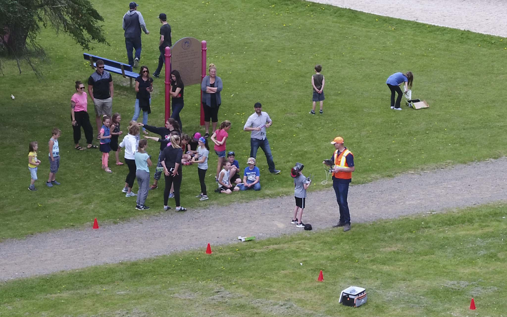 SUPPLIED</p><p>Frontier School Division students and staff at Falcon Beach School in Falcon Lake, Man. during a drone presentation in the fall of 2018. The drone was outfitted with a camera connected to virtual reality goggles on the ground enabling a viewer to move their head to see what the drone sees.</p>