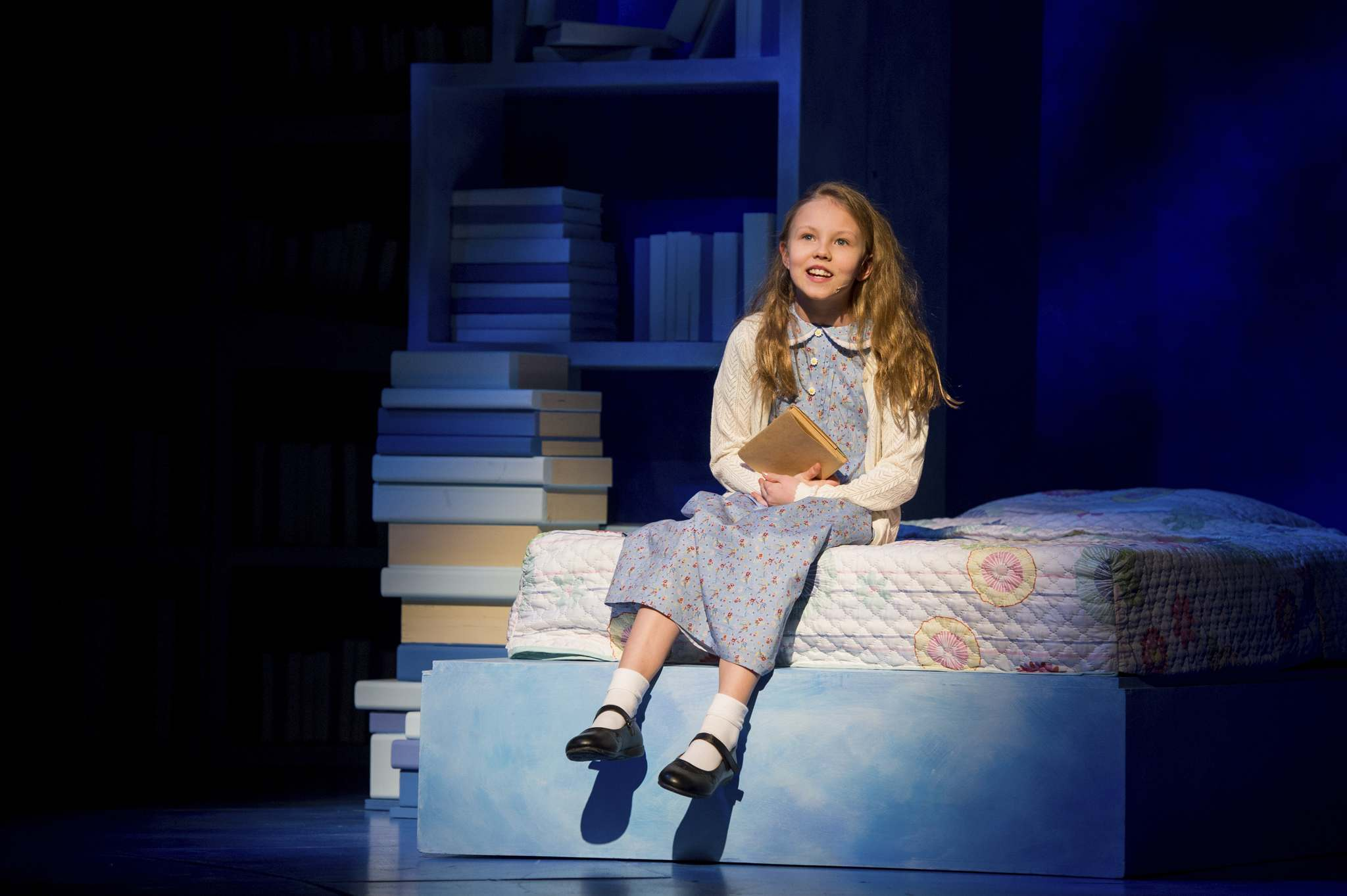 Anna Anderson-Epp plays Matilda, whose love of books helps her overcome a difficult childhood in Roald Dahl's Matilda: The Musical. (Dylan Hewlett photos)