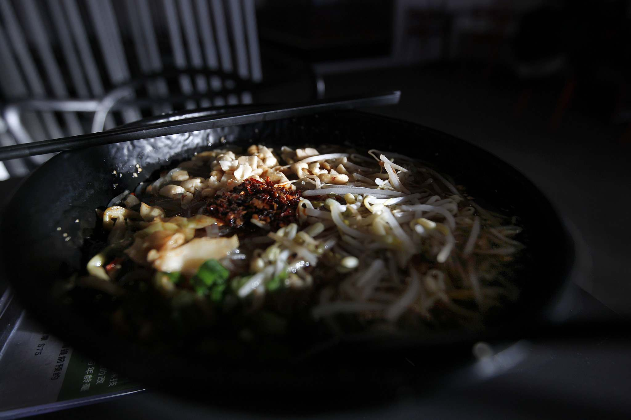 Alfy's Noodle House at 840 Waverley St., serves up a mean sour and spicy sweet potato noodle soup. The strip-mall location offers a varied and flavourful menu, while maintaining a chic atmosphere. (Phil Hossack photos / Winnipeg Free Press)