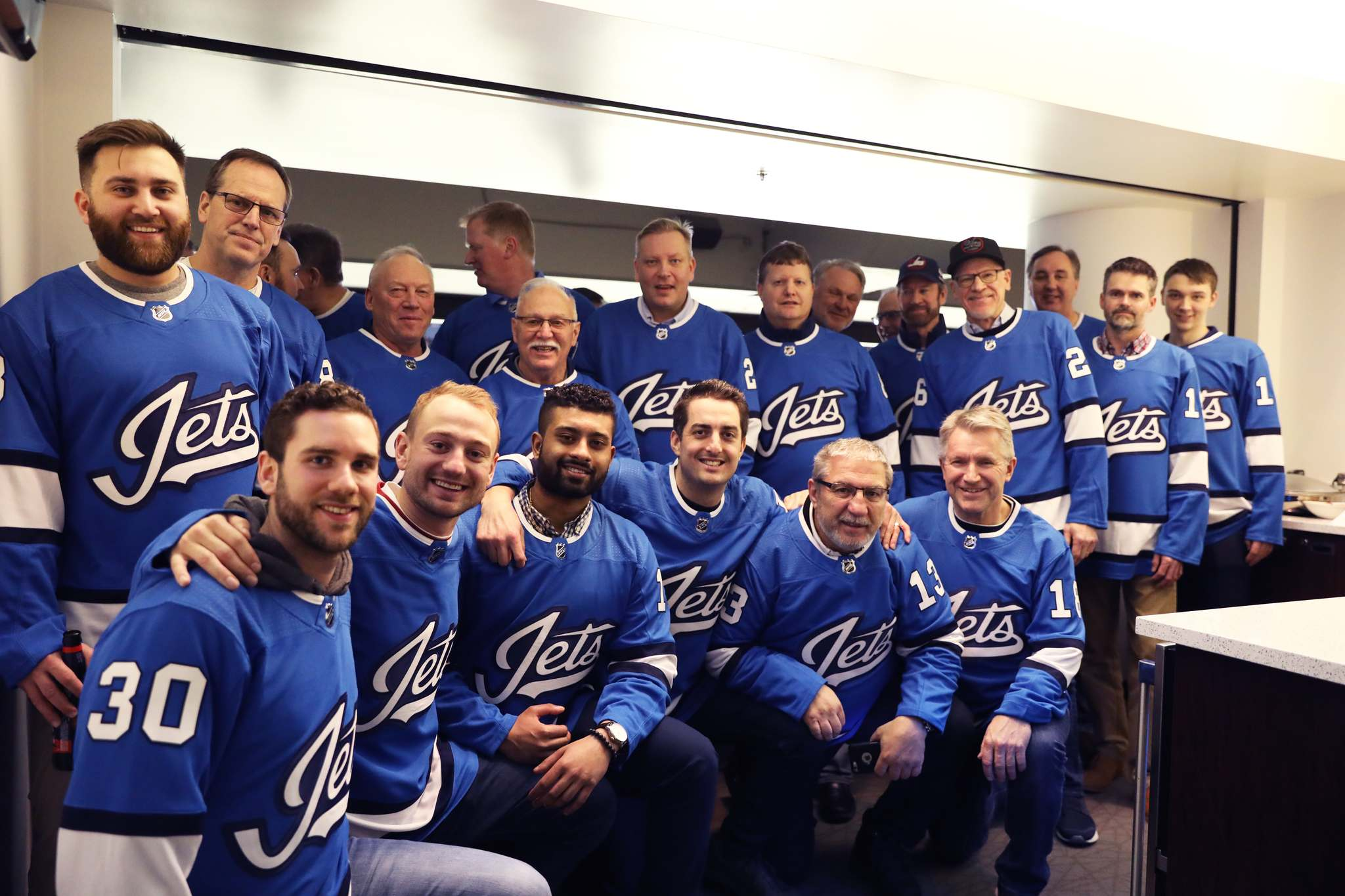 Fathers, family and friends of members of the Winnipeg Jets organization watched the Nashville game from a private box Thursday and were treated to a 5-1 victory over the Predators. (Supplied)</p>