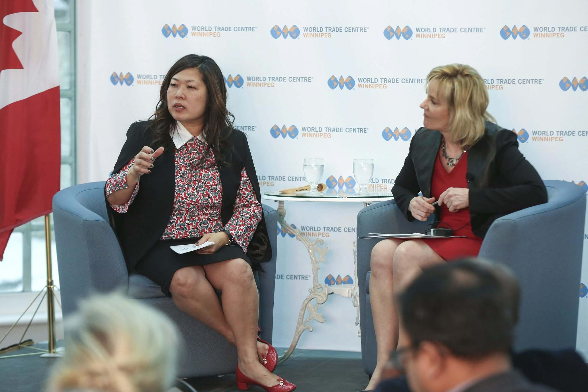 <p>Small Business and Export Promotion Minister Mary Ng, left, speaks at a World Trade Centre Winnipeg event at the Assiniboine Park Pavilion on Tuesday. She said Canada aims to increase its exports by 50 per cent by 2025.</p>
