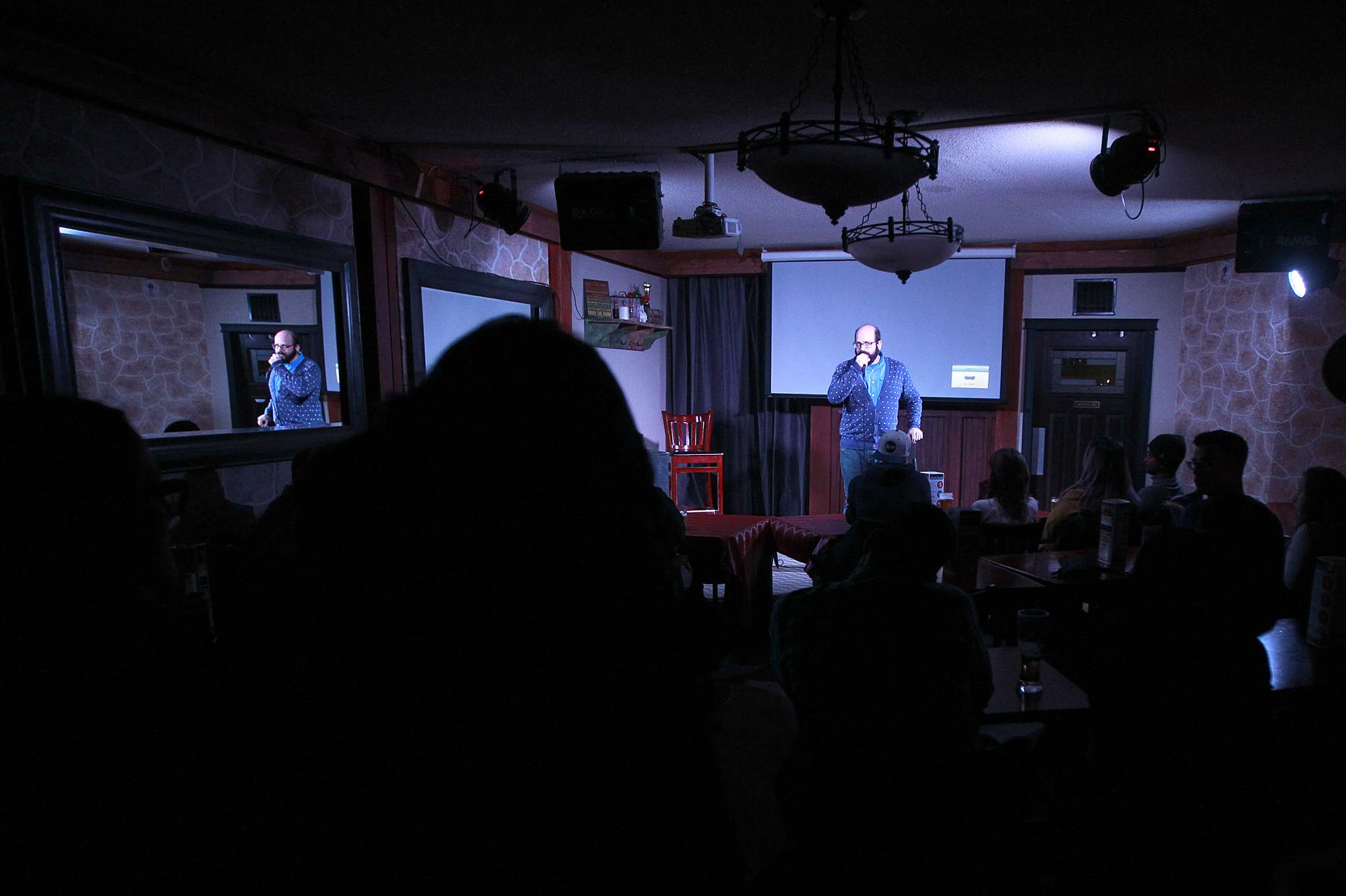 PHIL HOSSACK / WINNIPEG FREE PRESS</p><p>Comedian Dan Goldberg takes the stage at Wee Johnny's comedy club, which is in the basemnet of Johnny G's on McDermot Avenue.</p>