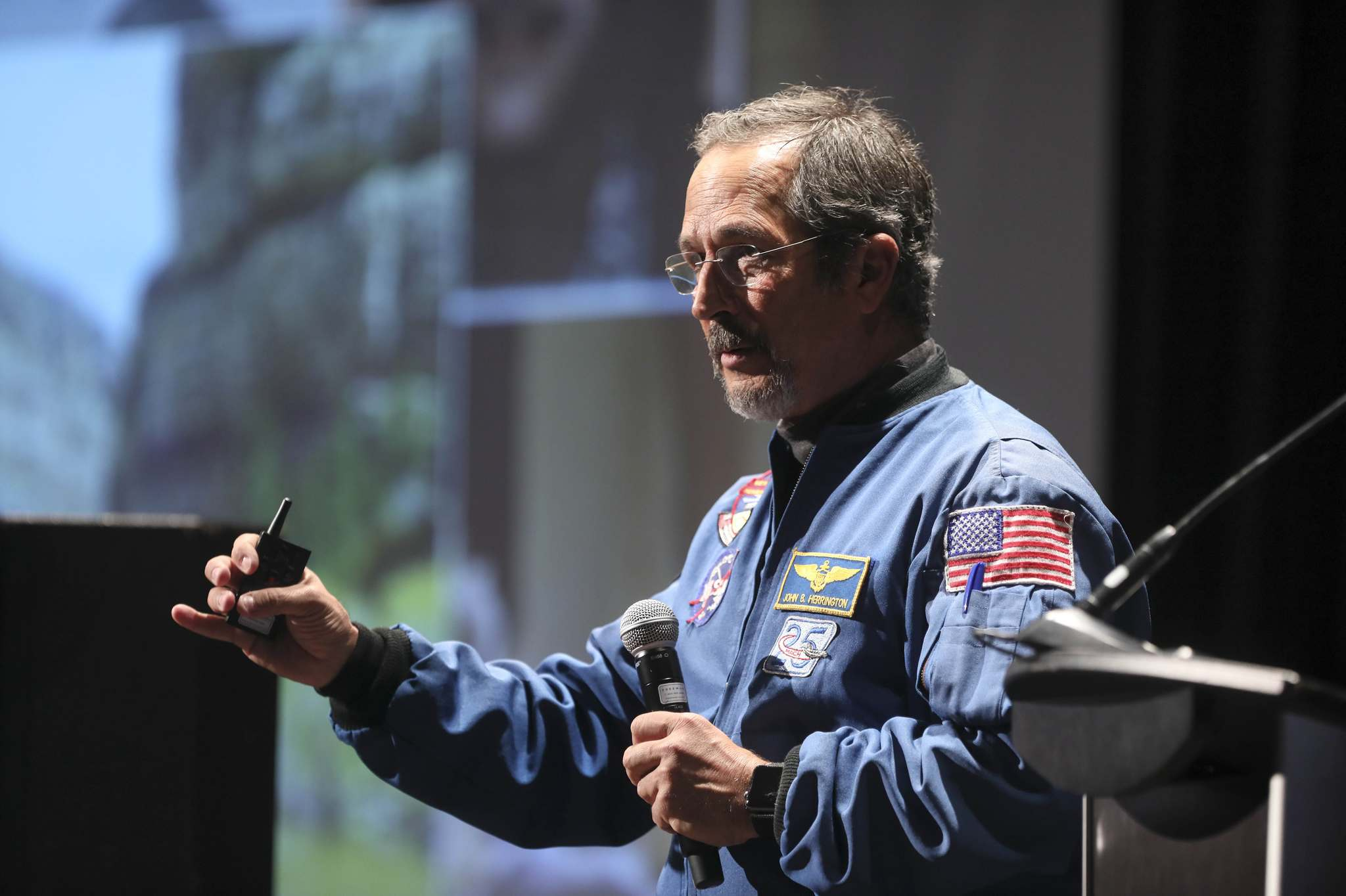 <p>Indigenous astronaut, Commander Dr. John Herrington, a member of the Chickasaw Nation, spent 13 days, 18 hours and 47 minutes in space in 2002, taking his tribe's flag to the International Space Station.</p>