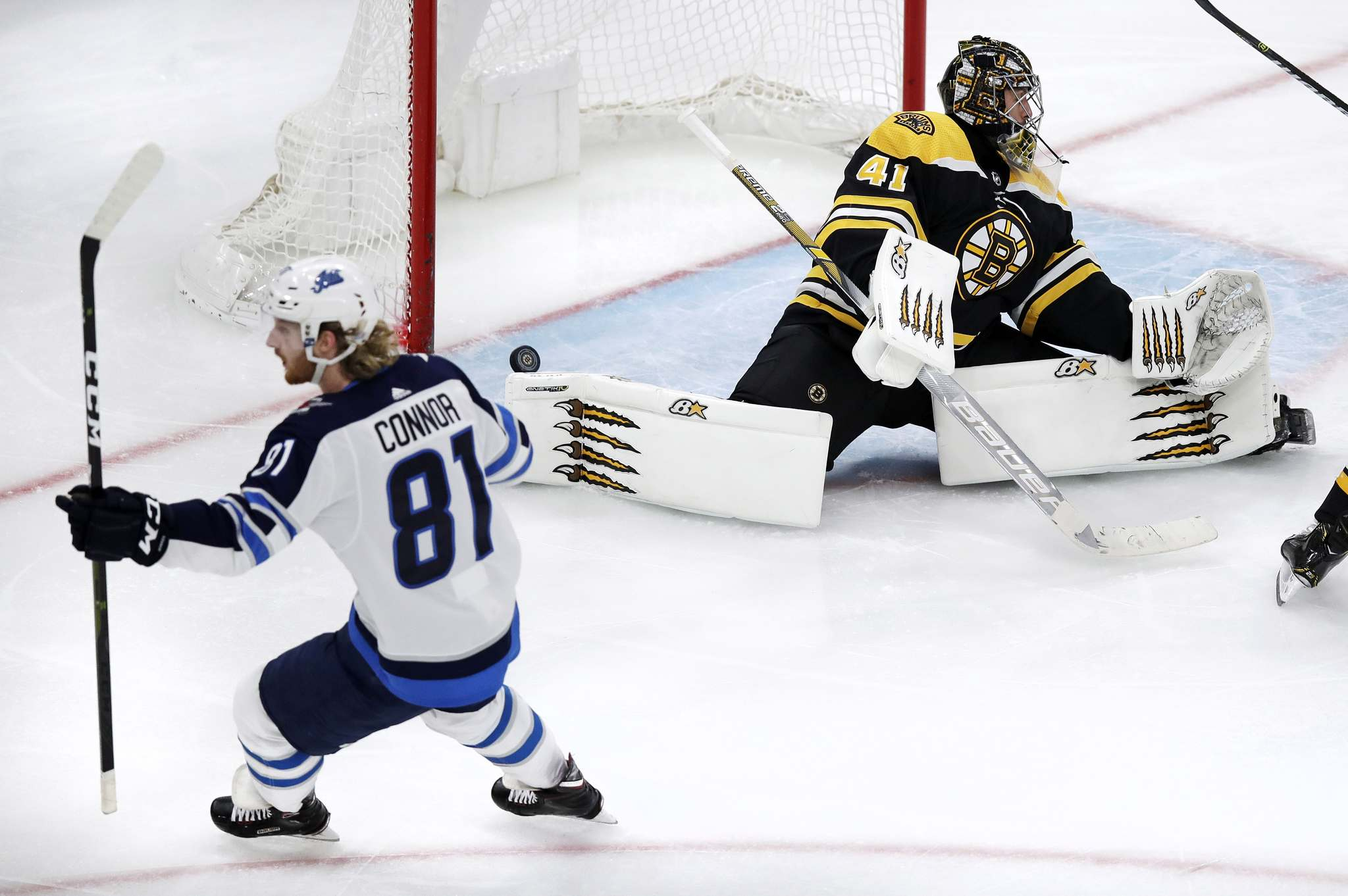 Kyle Connor has scored 22 goals this year including two in Boston Tuesday before adding another during a shootout. (Charles Krupa / The Associated Press files)</p>