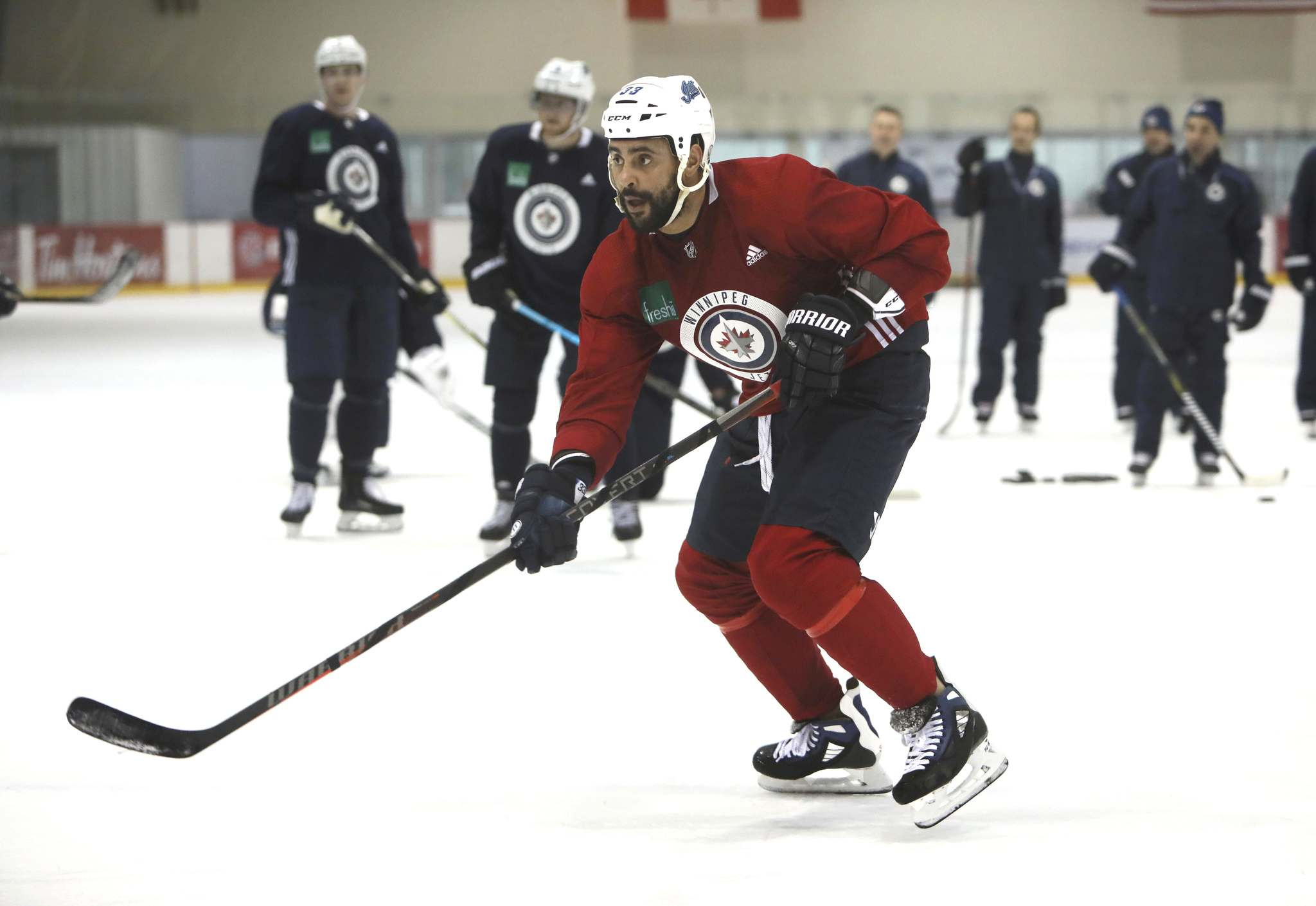 Dustin Byfuglien travelled with the team on their recent eastern swing, and was even expected to play, but left early and hasn't skated since. (Ruth Bonneville / Winnipeg Free Press files)