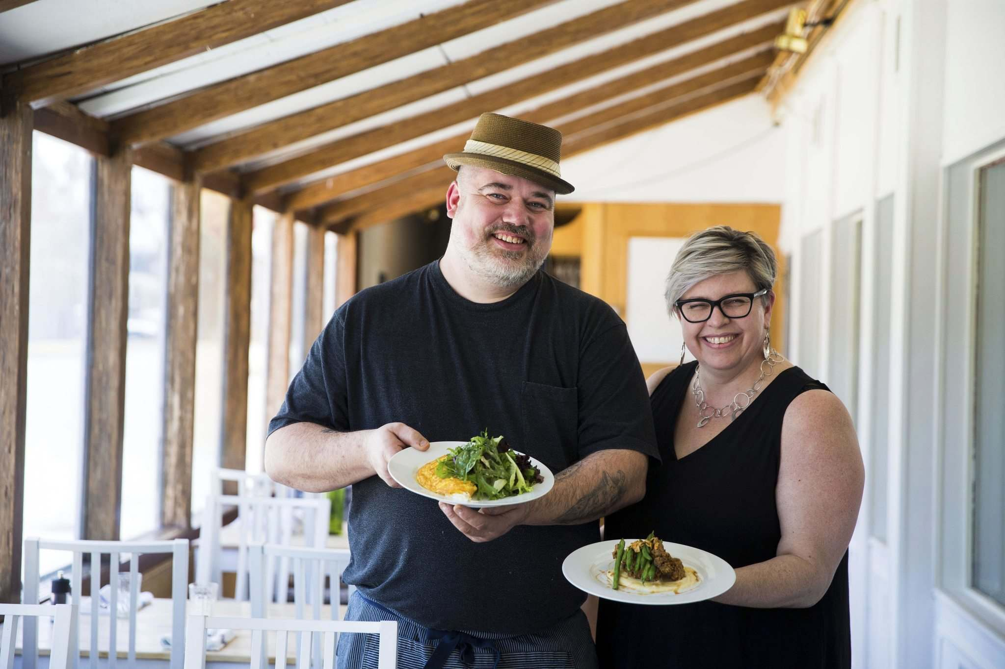 Owner/chef Alexander Svenne (left) and front-of-house boss Danielle Carignane-Svenne bring a family-run brunch experience at Little Goat Food & Drink. (Mikaela MacKenzie / Free Press files)