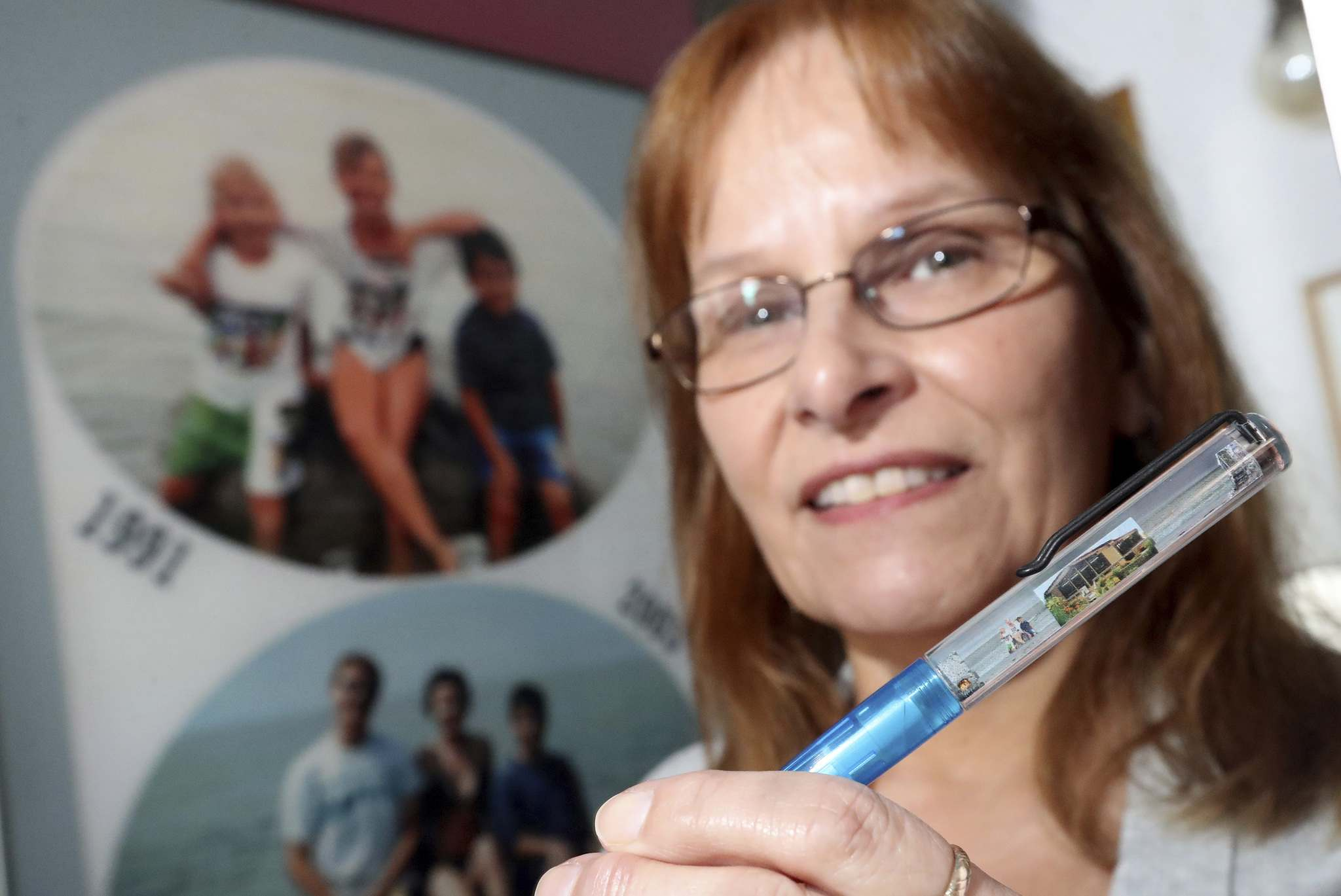 TREVOR HAGAN / WINNIPEG FREE PRESS</p><p>Her son, nephew and niece on a pen she custom ordered.</p></p>
