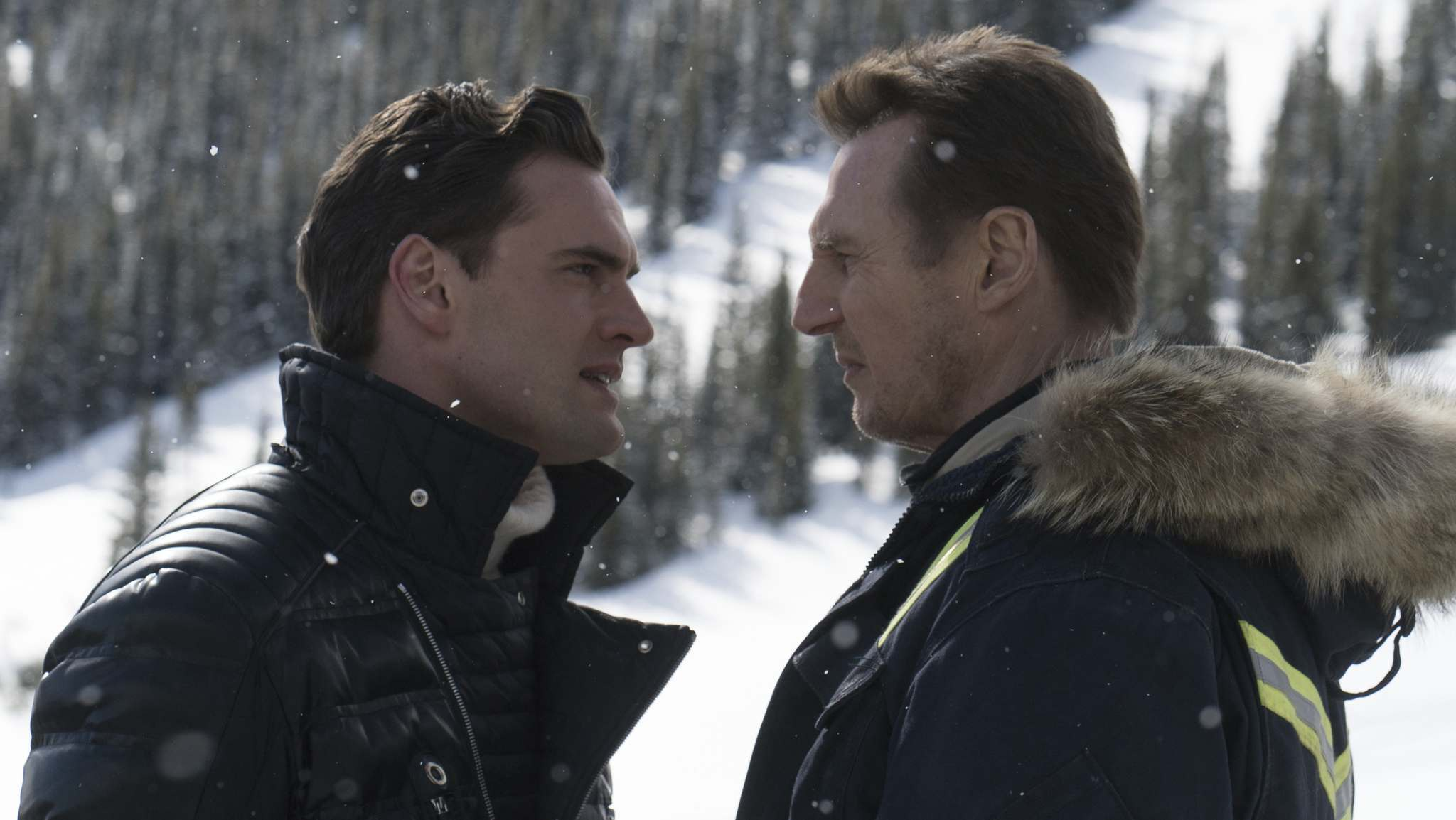 Actors Tom Bateman and Liam Neeson (right) star in the film Cold Pursuit.