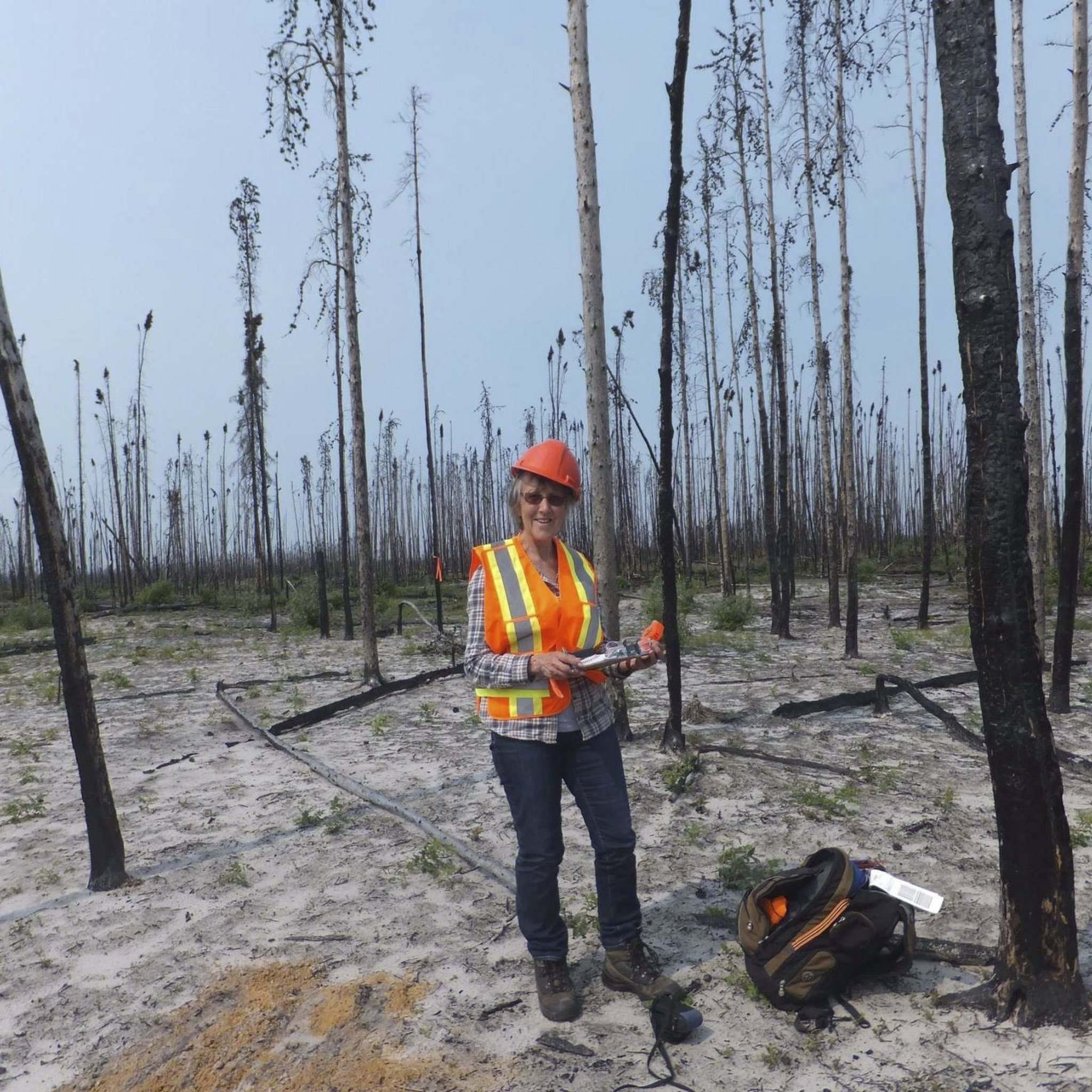 Virginia Petch in the Gull Lake area in 2015, two years after a forest fire. (Supplied)