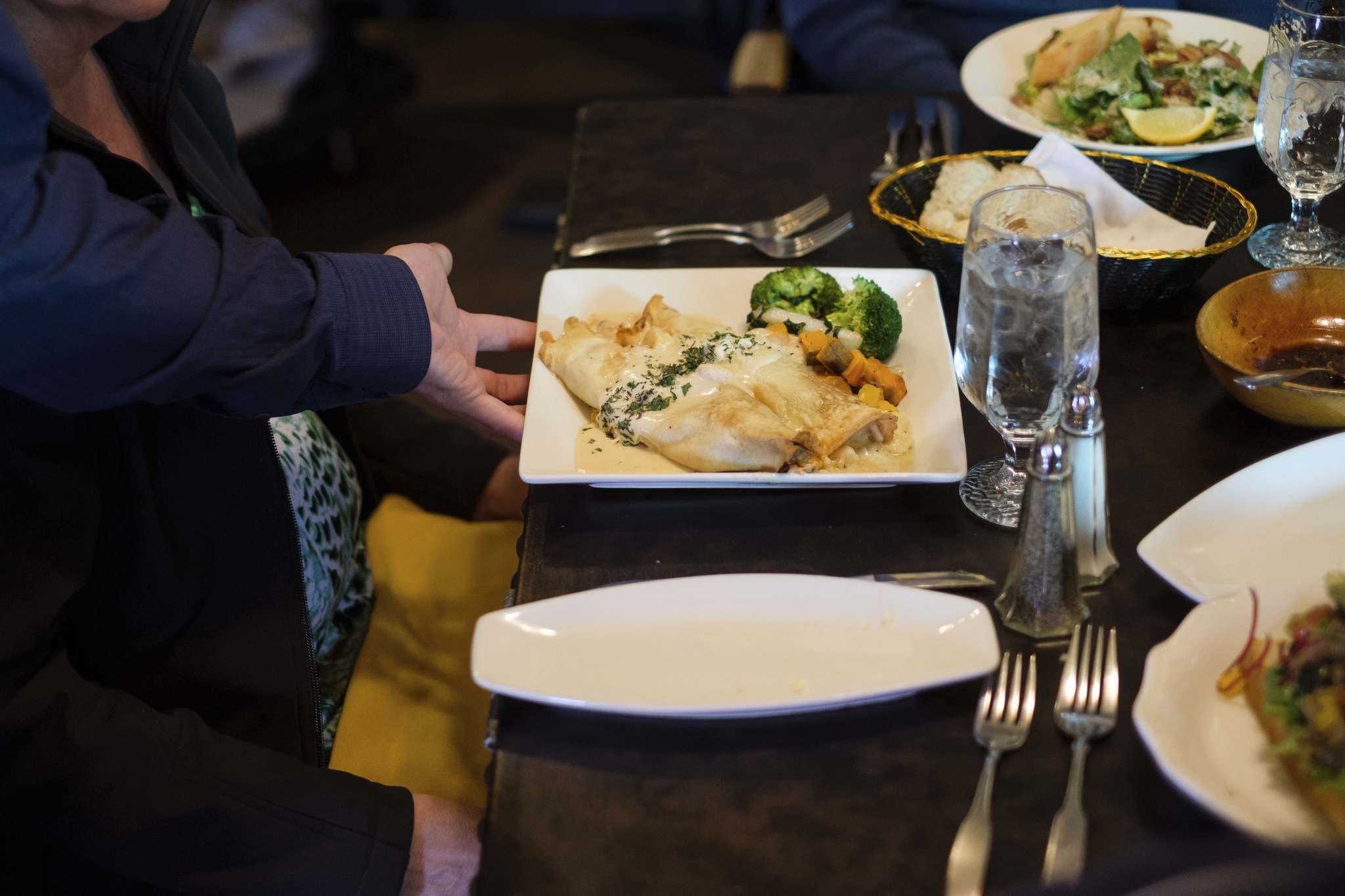 Seafood crepes are a popular lunch menu item.</p>