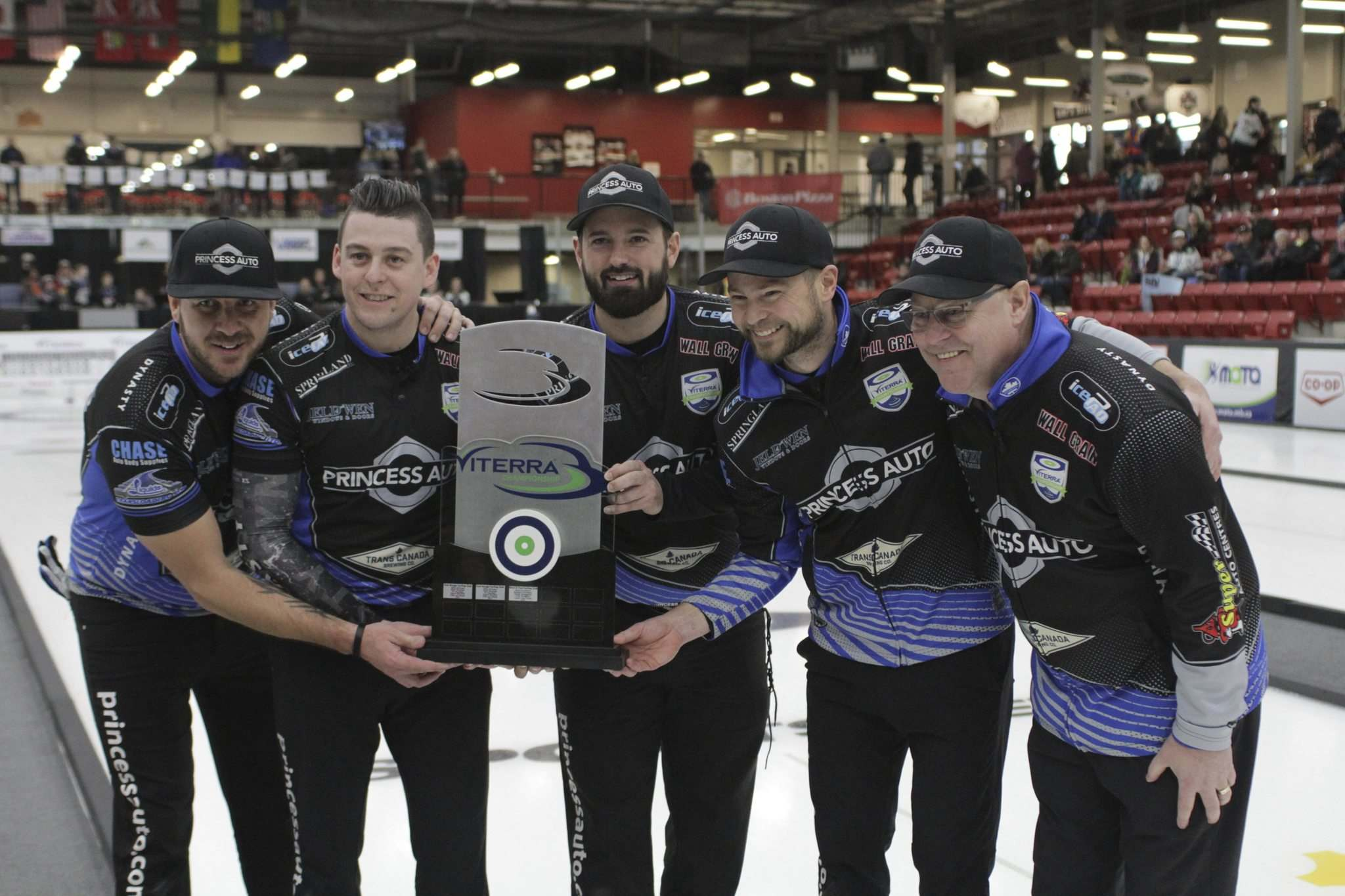 THOMAS FRIESEN / BRANDON SUN</p><p>From left, Derek Samagalski, Colin Hodgson, Reid Carruthers, Mike McEwen and coach Rob Meakin are headed to the Tim Hortons Brier as Team Manitoba after defeating William Lyburn 5-3 in the Viterra Championship final in Virden on Sunday. </p>