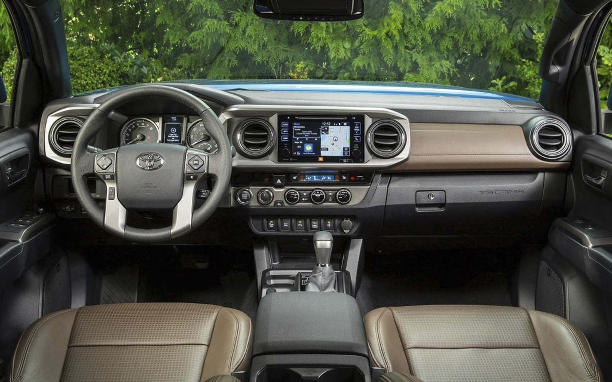 The Tacoma's interior incorporates updated multimedia features.