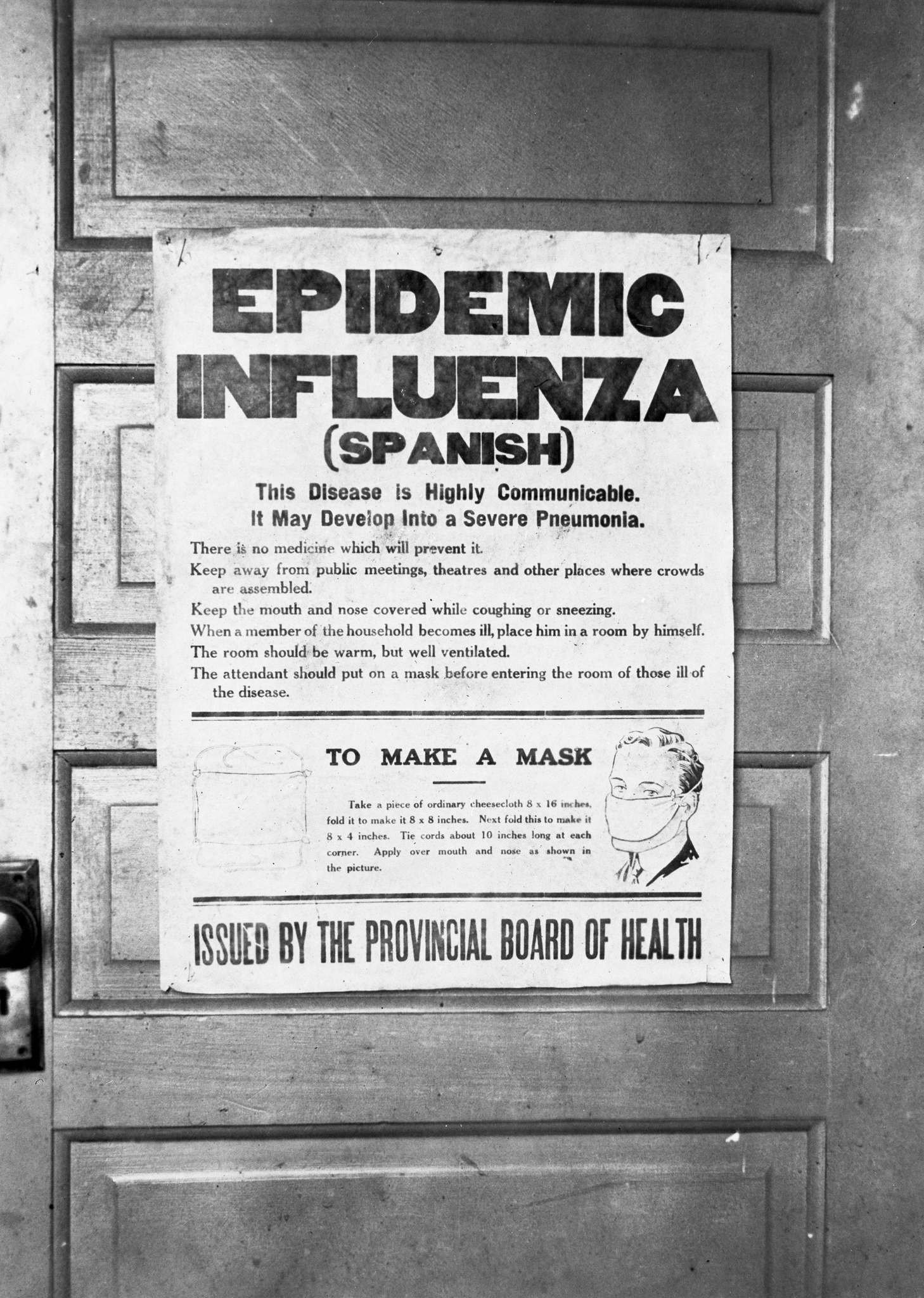 A poster issued by the provincial board of health about the influenza pandemic in Alberta in 1918.