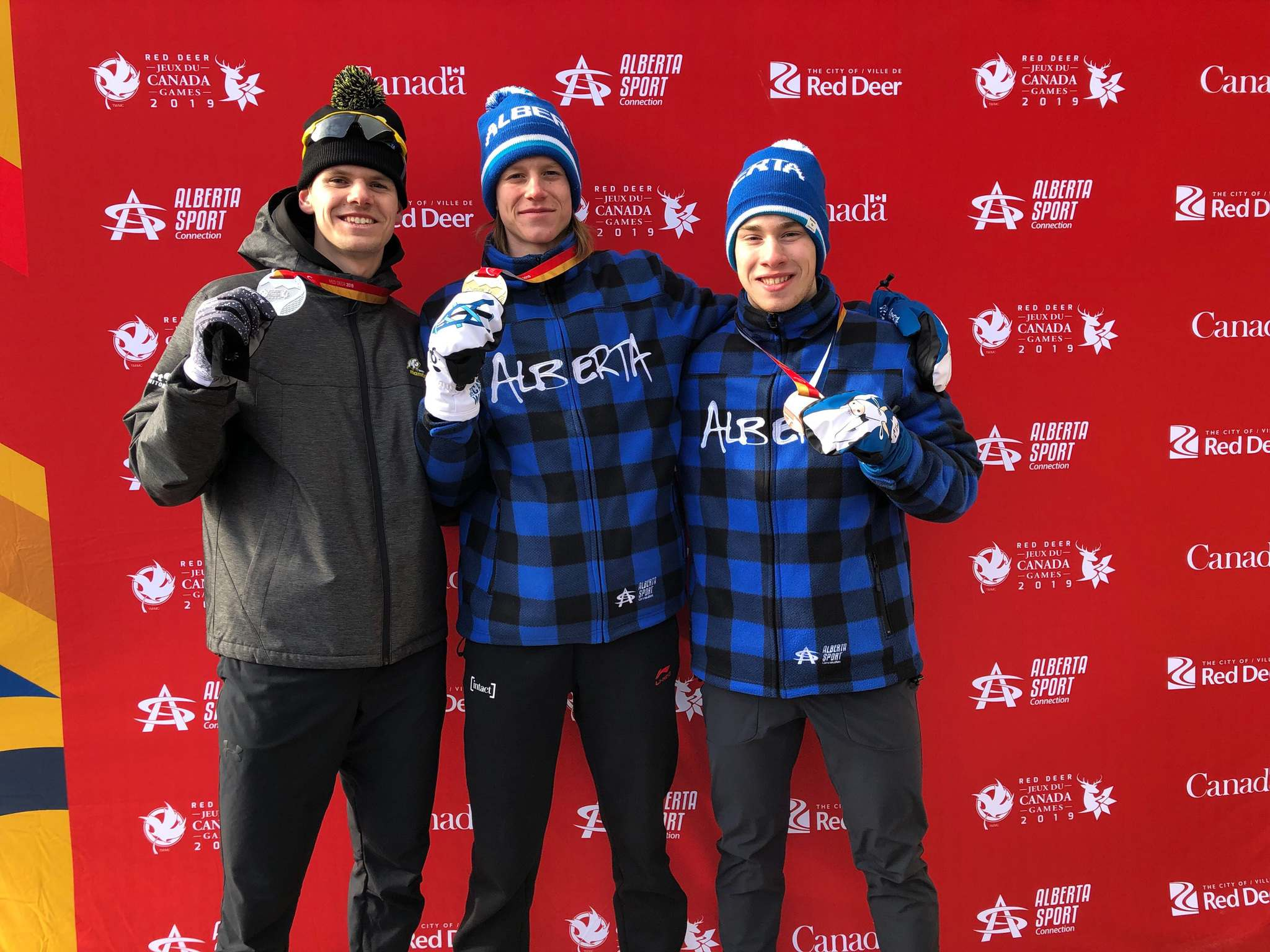 SUPPLIED</p><p>Winnipeg&#39;s Tyson Langelaar, left, shows off his third medal, this time a silver, at the 2019 Canada Games in Speed Skating - Long Track - 5000m Male, with a final race time of 6:56.36.</p>