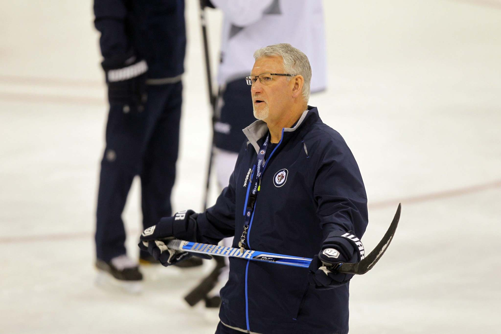 Perry Pearn as the Winnipeg Jets' assistant coach in 2013.
