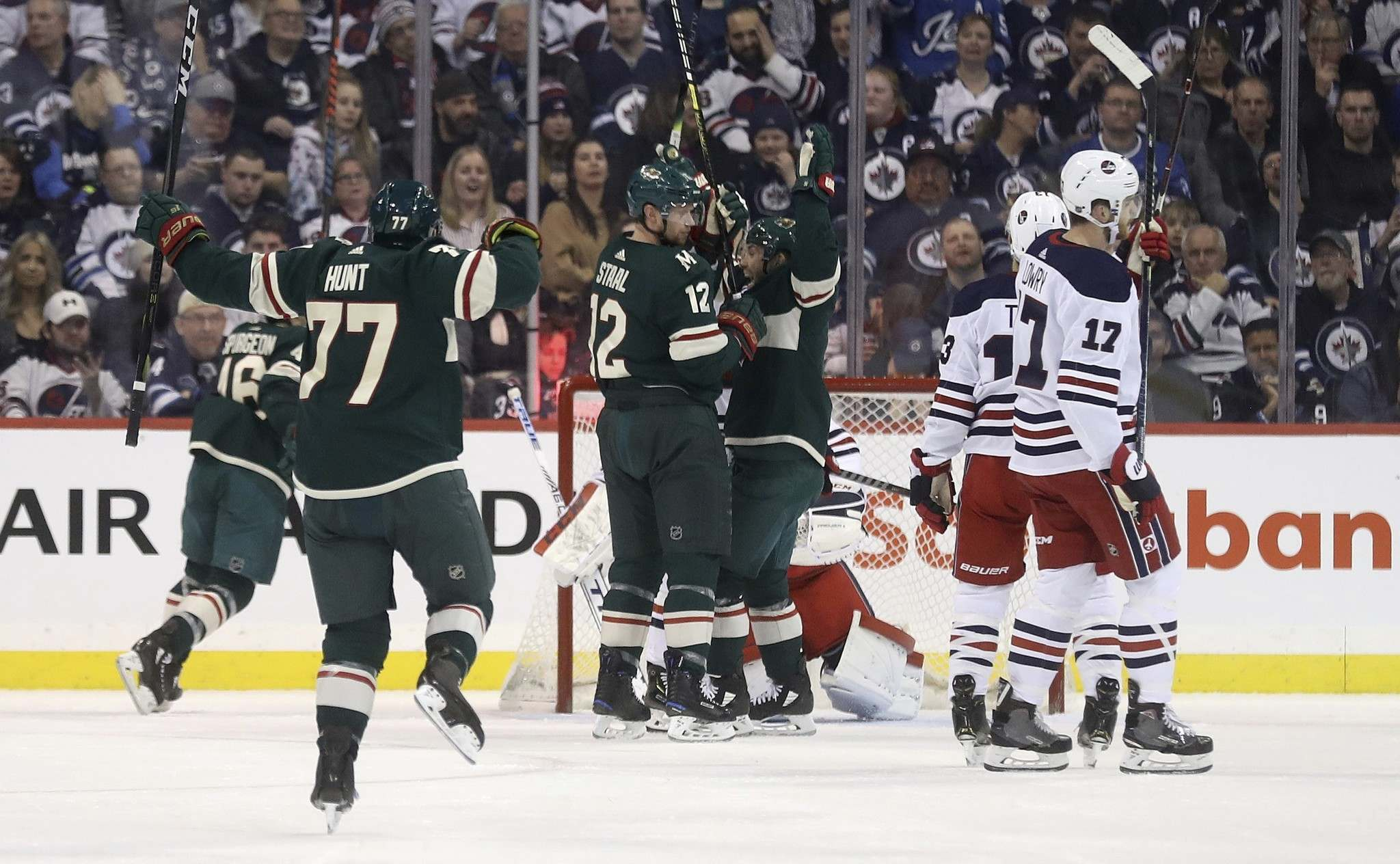 Minnesota&#39;s Brad Hunt celebrates the Wild&#39;s first goal of the night, which was the team&#39;s only goal until the final 90 seconds of the game. (Trevor Hagan / The Canadian Press)</p>