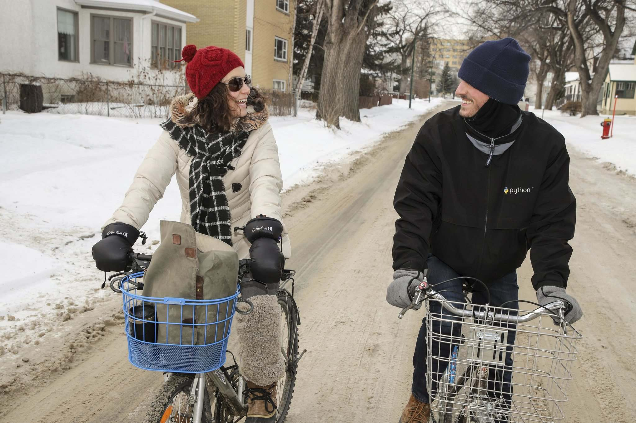 Mel Marginet and her friend Sean Carlson ride their bikes year-round in Winnipeg. Marginet doesn't own a car. (Leif Norman)