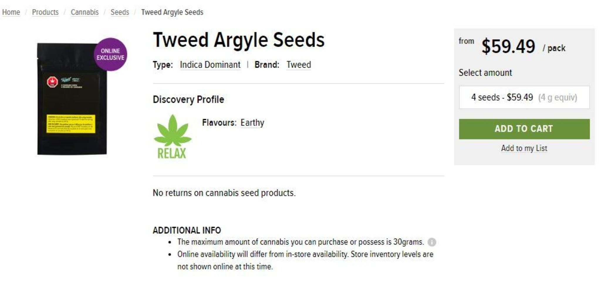 Legal cannabis seeds for sale through Nova Scotia's licensed provincial cannabis retailer. (NSLC Cannabis)</p>