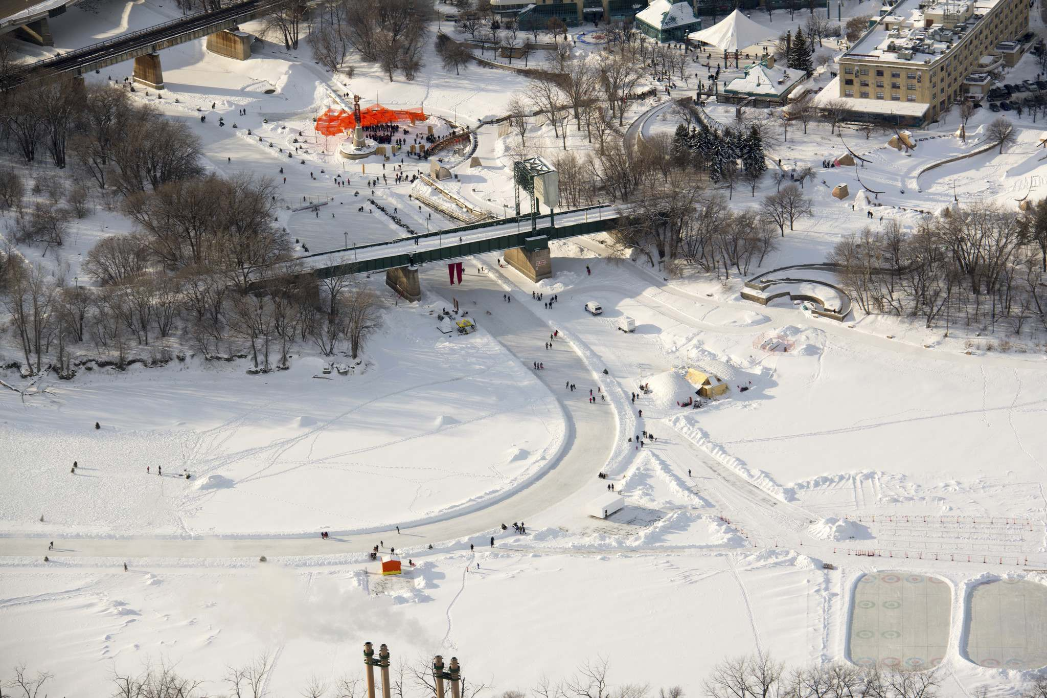 In the winter, the Red and Assiniboine Rivers come alive with people, activity, art and creativity. (Dan Harper photo)