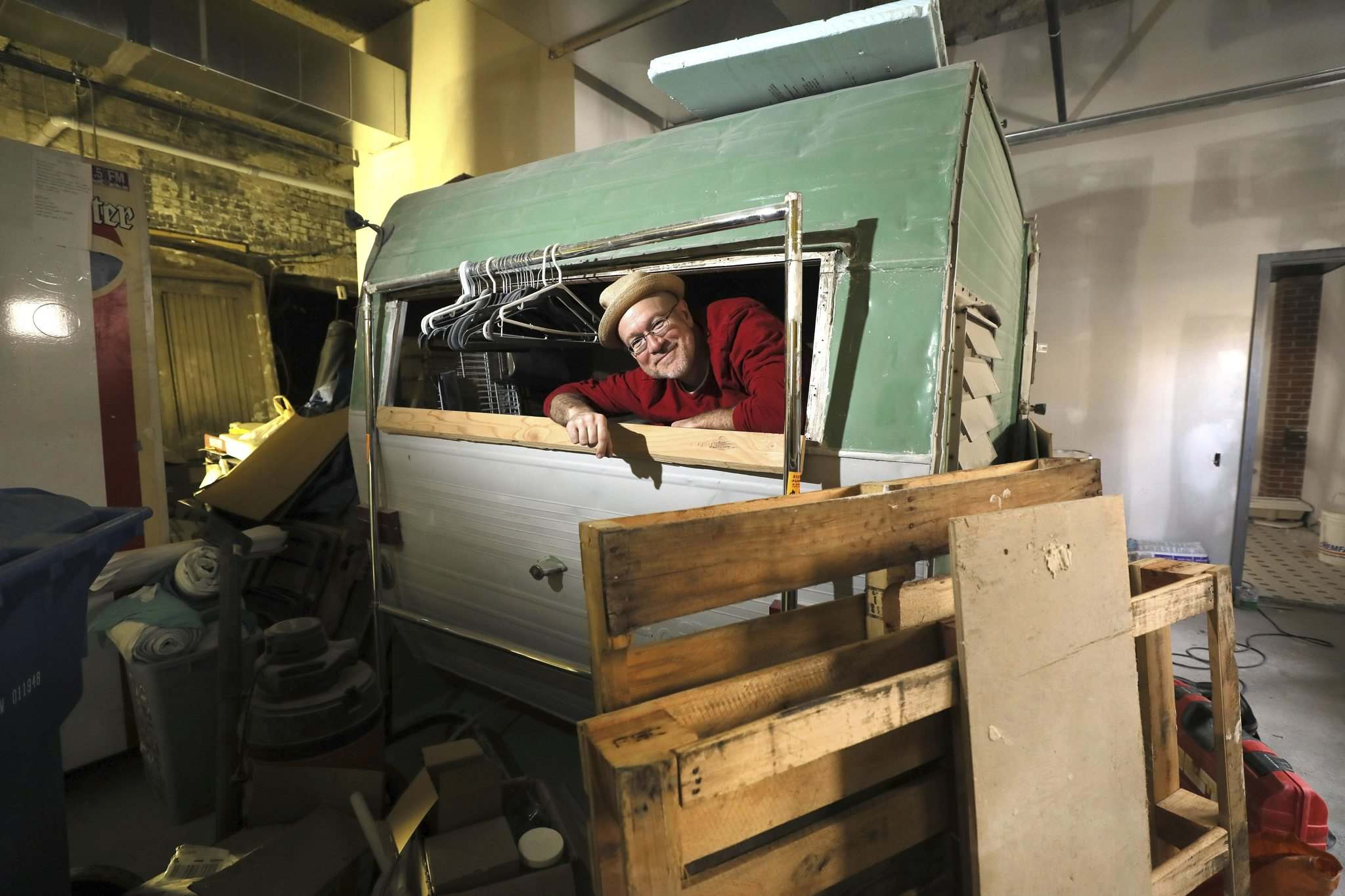 Scoles bought an old camper to use as some kind of serving station. (Ruth Bonneville / Winnipeg Free Press)